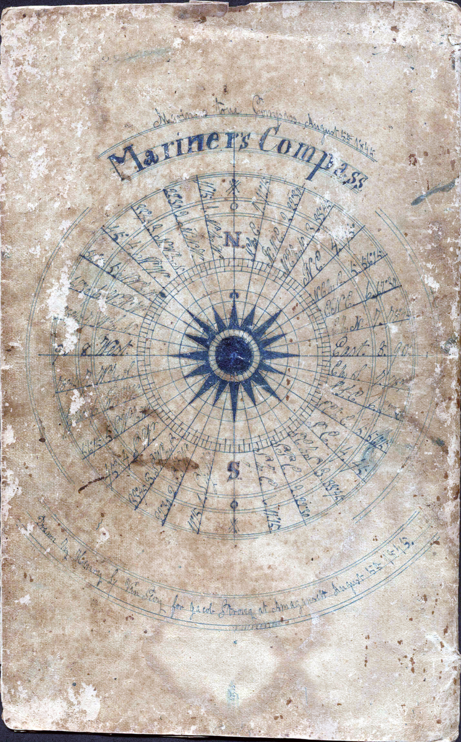 The double-sided, back cover illustration of  a mariner's compass, possibly drawn by Henry L. Van Scoy, according to