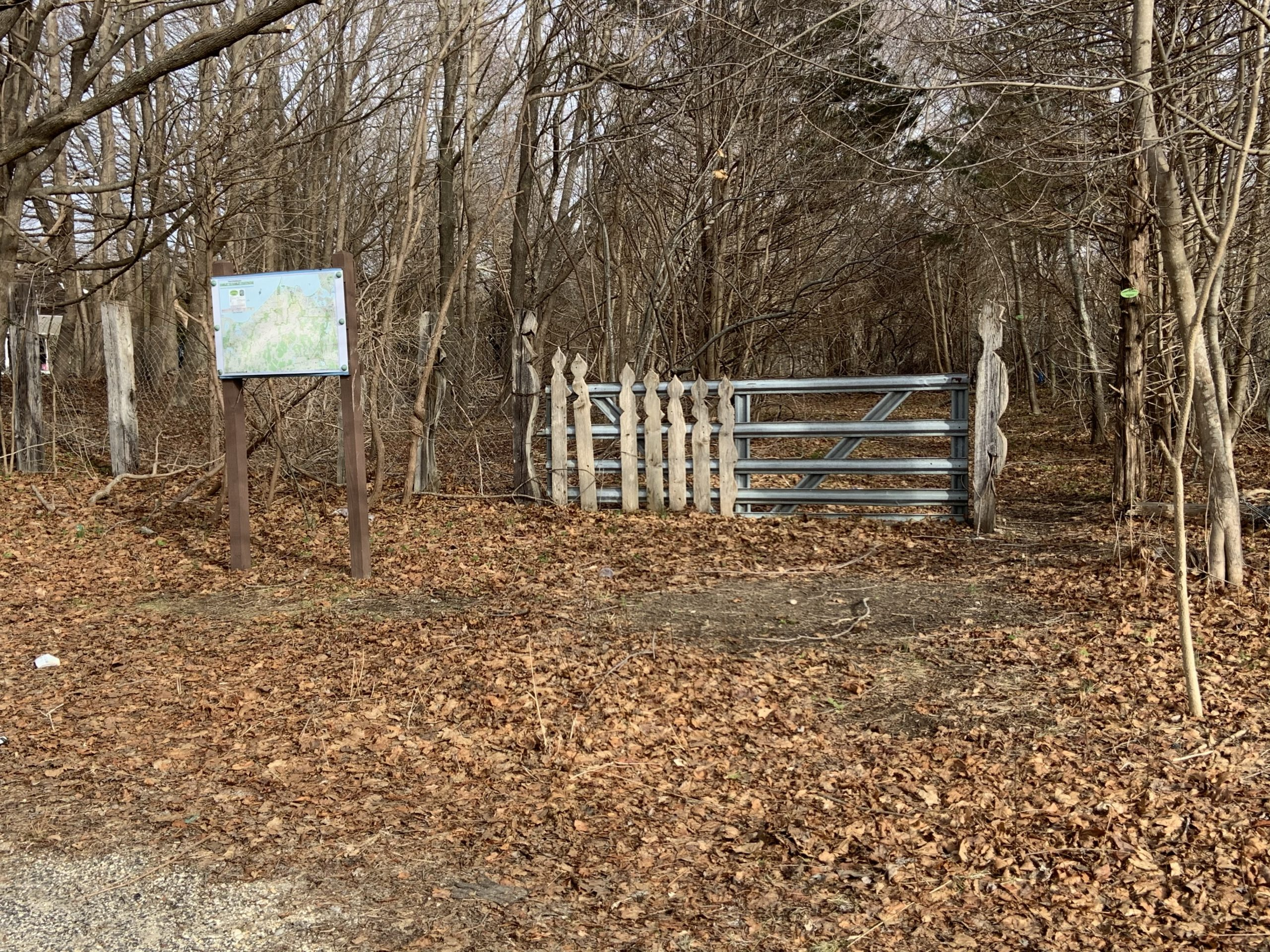 The entrance to a trail along the old railroad spur between Bridgehampton and Sag Harbor is marked with a trail sign at Lumber Lane. STEPHEN J. KOTZ