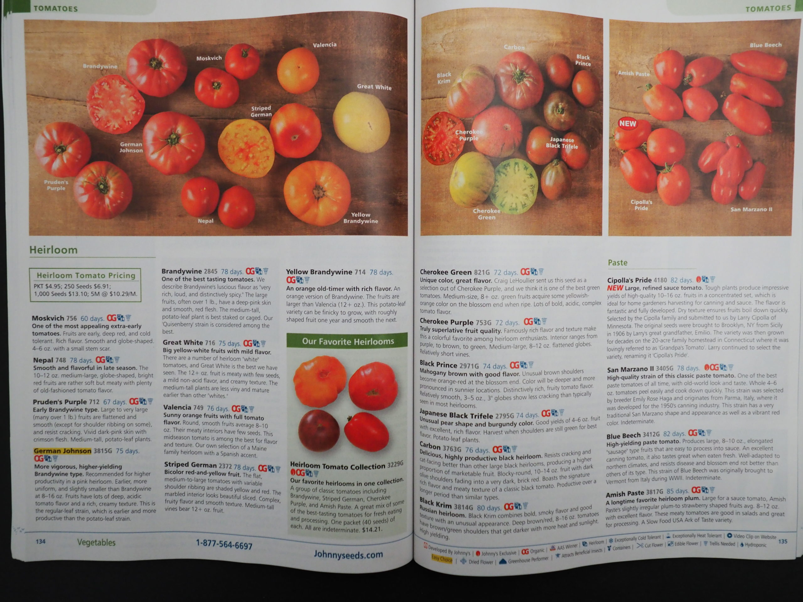 Having trouble deciding which heirloom tomato to grow?  Johnny's terrific pictures and descriptions can go a long way to help in the decision process.