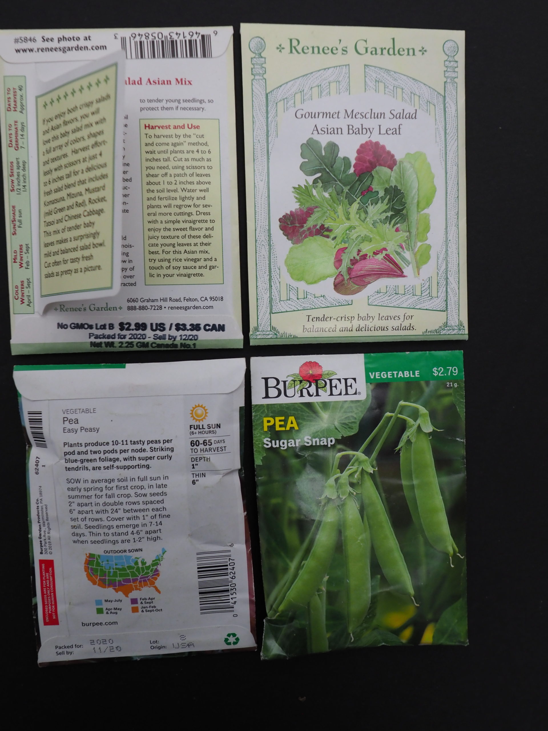 Renee's seed packets (top) have three distinct text sections about the seed in the packet and the packet artwork is visually appealing. The information on the left (long) side includes both germination and days to harvest.  The Burpee seed packets offer much less for the new or inquisitive gardener.