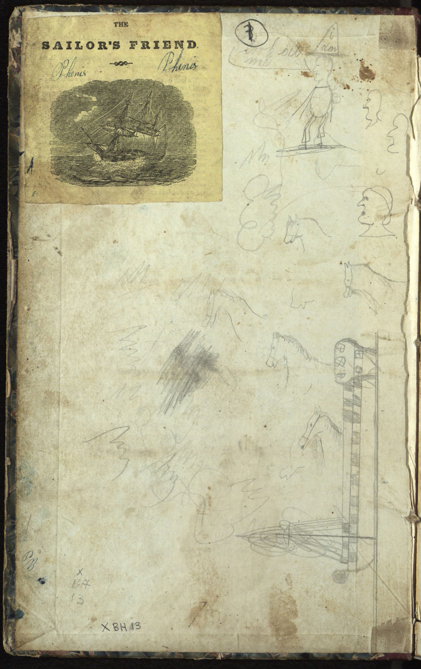The cover of the  log of the whaling ship Phenix, on a voyage from Sag Harbor to the Northwest Coast, 10 October 1844 to 5 June 1847.  Journal abruptly ends, briefly picked up again for a few days in March 1847. The rest of the log contains  poems and sketches of buildings a schoolhouse in East Hampton  and churches in East Hampton and Sag Harbor.   COURTESY  EAST HAMPTON LIBRARY, LONG ISLAND COLLECTION