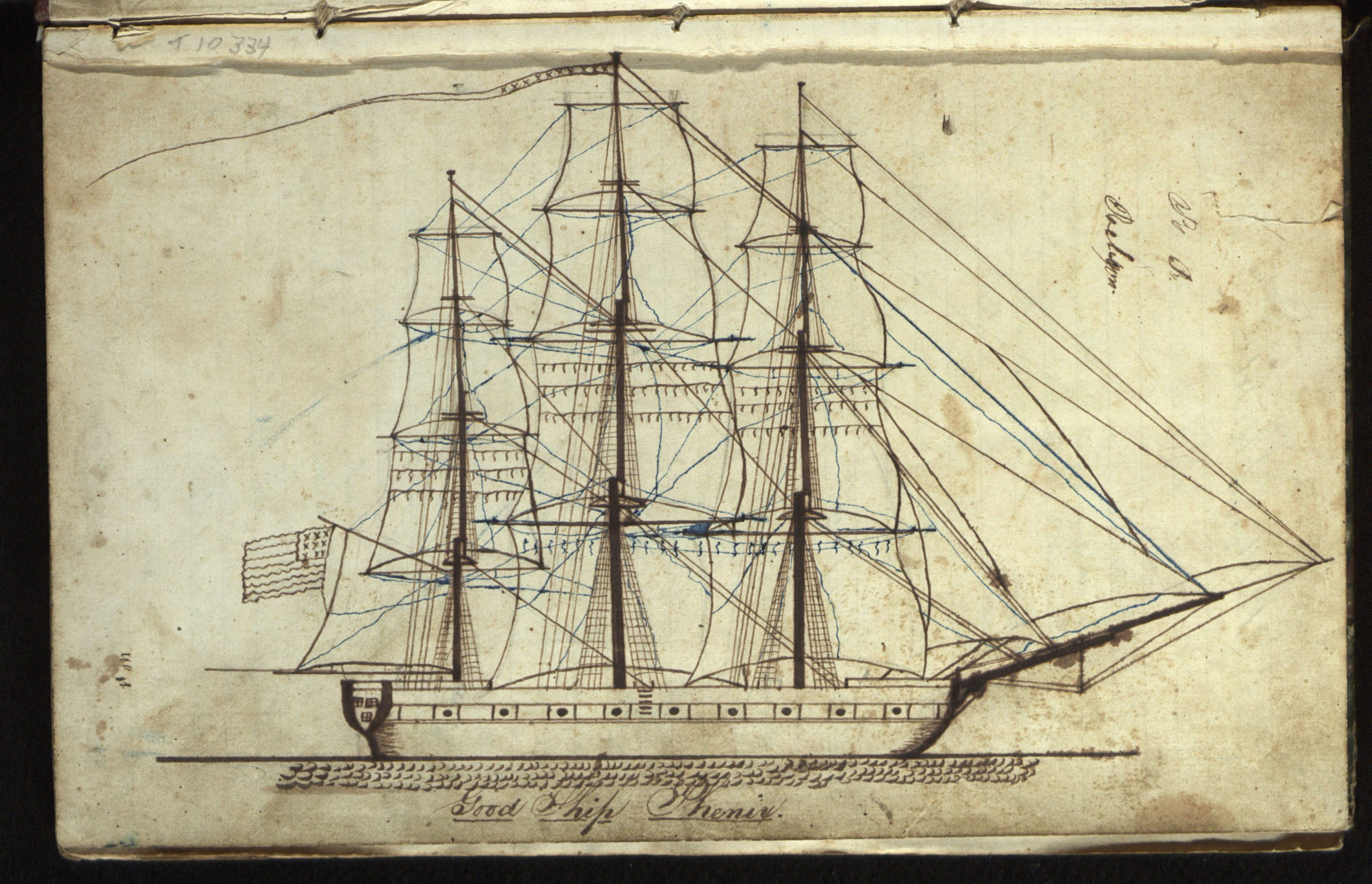 A rendering of the  whaling ship Phenix from the pages of its log. The Phenix was on a voyage from Sag Harbor to the Northwest Coast, 10 October 1844 to 5 June 1847.   COURTESY  EAST HAMPTON LIBRARY, LONG ISLAND COLLECTION