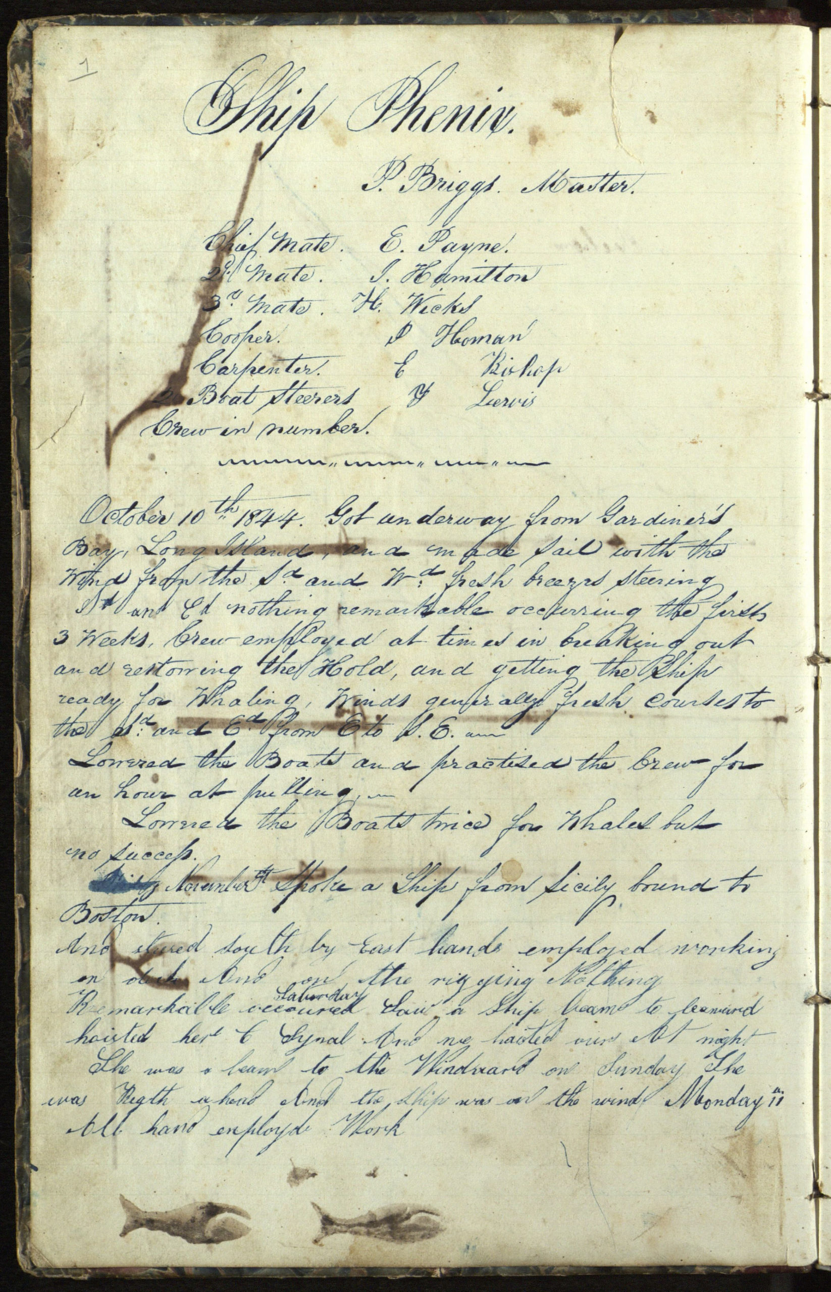 A page from the log of the whaling ship Phenix, on a voyage from Sag Harbor to the Northwest Coast, 10 October 1844 to 5 June 1847.  Journal abruptly ends, briefly picked up again for a few days in March 1847. The rest of the log contains  poems and sketches of buildings a schoolhouse in East Hampton  and churches in East Hampton and Sag Harbor.   COURTESY  EAST HAMPTON LIBRARY, LONG ISLAND COLLECTION