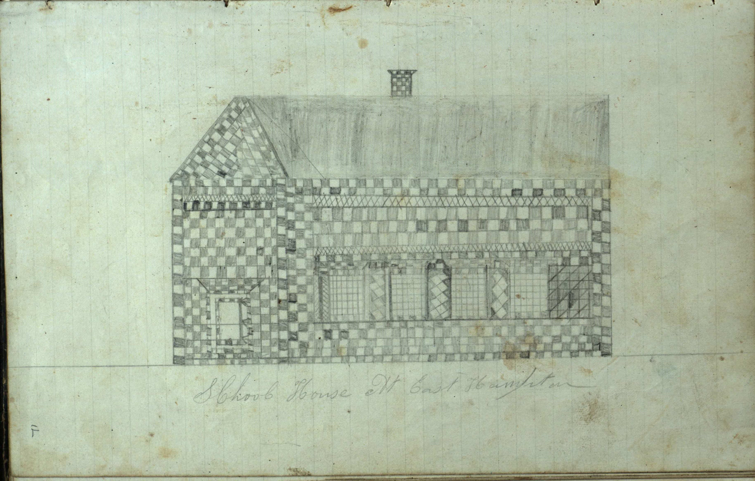 A sketch of an East Hampton school house from the log of the Phenix.     COURTESY  EAST HAMPTON LIBRARY, LONG ISLAND COLLECTION