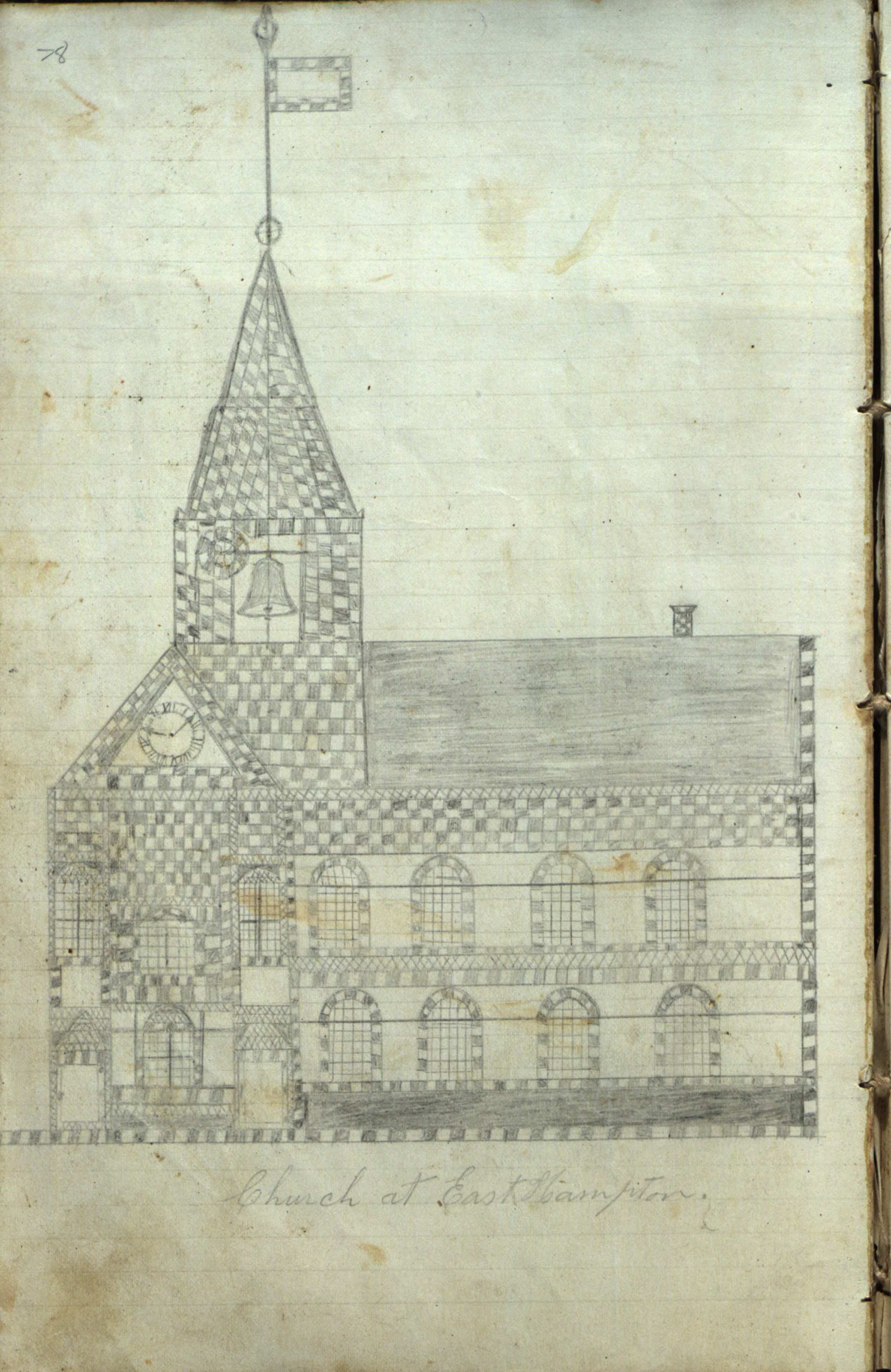 A sketch of an East Hampton church  from the log book of the whaling ship Phenix.   COURTESY  EAST HAMPTON LIBRARY, LONG ISLAND COLLECTION