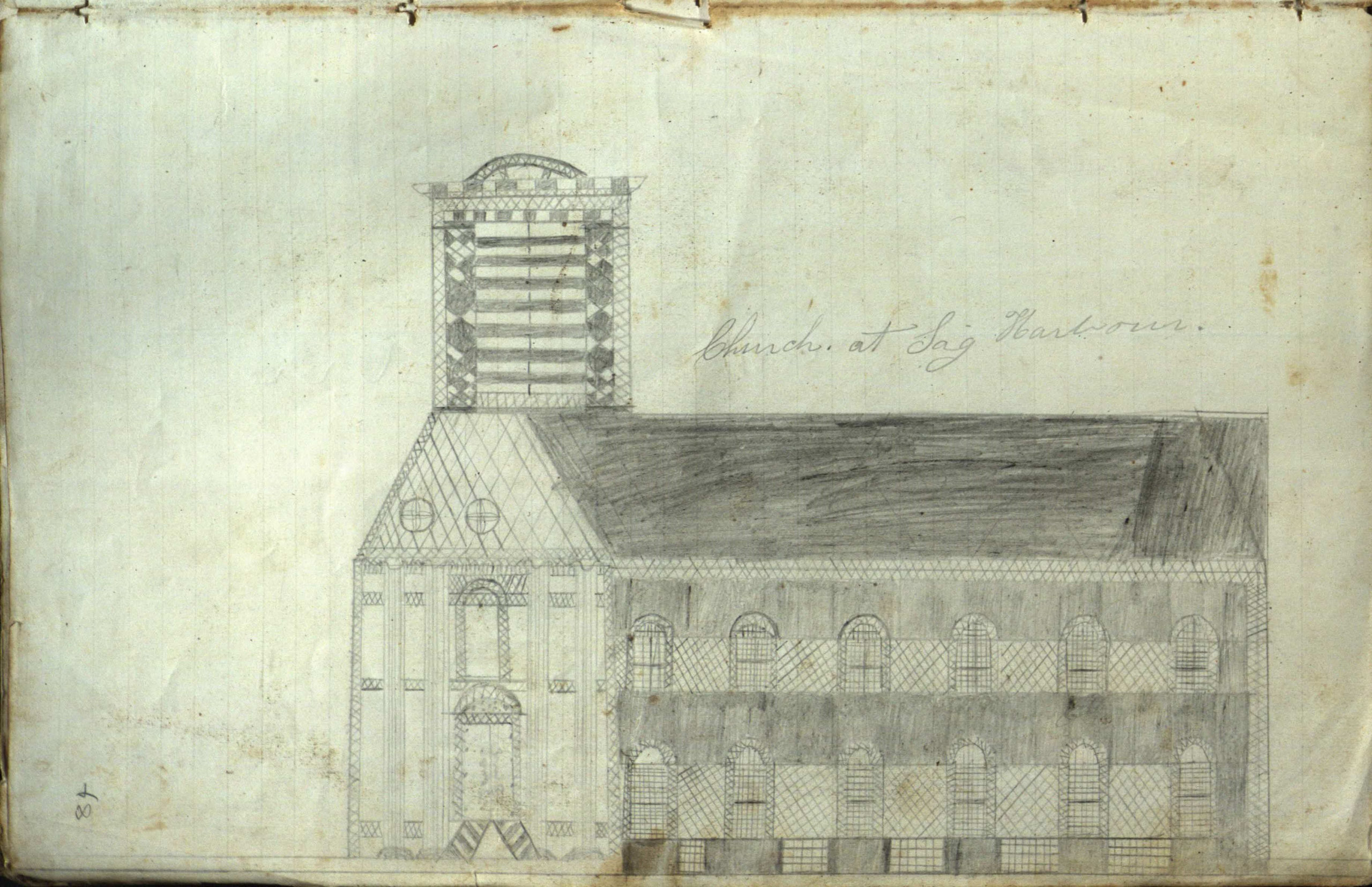 A sketch of a Sag Harbor church from the log of the whaling ship Phenix. The log contains  poems and sketches of buildings a schoolhouse in East Hampton  and churches in East Hampton and Sag Harbor.   COURTESY  EAST HAMPTON LIBRARY, LONG ISLAND COLLECTION