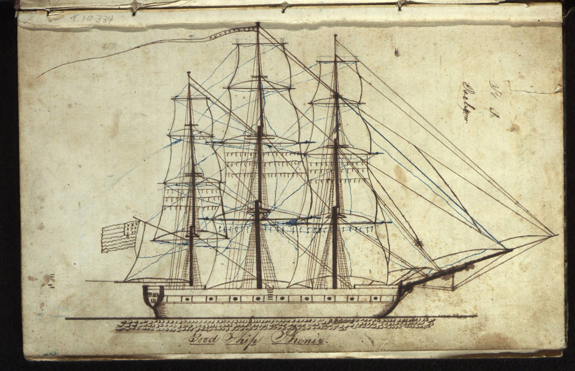 A rendering of the  whaling ship Phenix from the pages of its log. The Phenix was on a voyage from Sag Harbor to the Northwest Coast, 10 October 1844 to 5 June 1847 (dates contained in this journal are 10 October 1845 - 4 July 1846, 10 March 1847 - 13 March 1847); owned by Cook & Green, commanded by Captain Samuel Percival Briggs. Journal abruptly ends, briefly picked up again for a few days in March 1847. The rest of the log contains  poems and sketches of buildings a schoolhouse in East Hampton  and churches in East Hampton and Sag Harbor.   COURTESY  EAST HAMPTON LIBRARY, LONG ISLAND COLLECTION