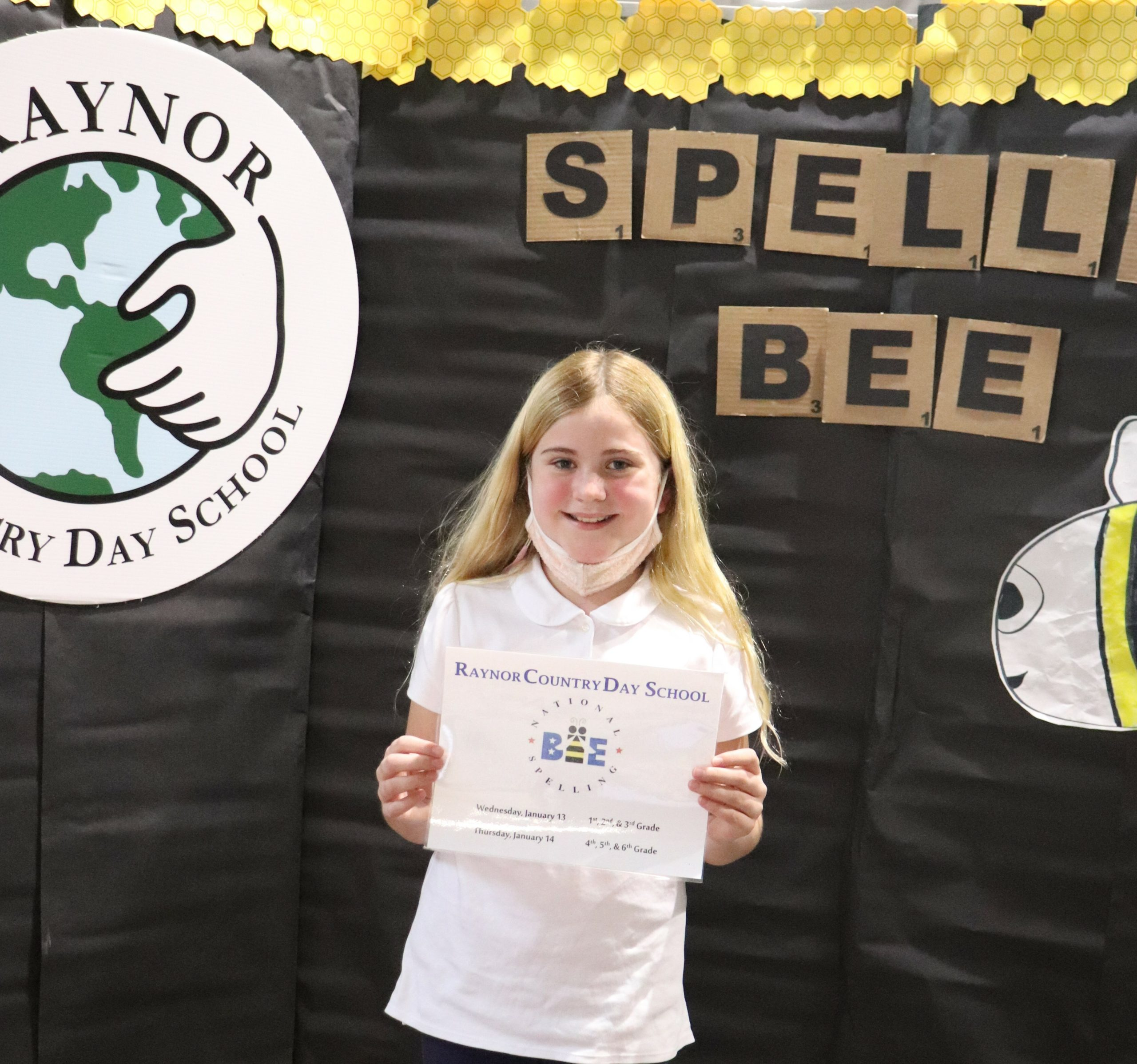 Fifth-grade student, Rebecca Bartha, was awarded first place during the Scripps' National Institute Spelling Bee held on the Raynor Country Day School Campus, in Speonk.
