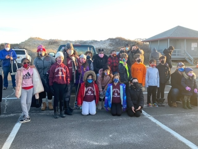 Southampton Elementary School Student Council members in conjunction with the Opening Act Community Service Club and SOFO Museum educators volunteered to clean up Flying Point Beach in Southampton on Jan. 9. Participants collected buckets full of debris and even found a phonograph album.