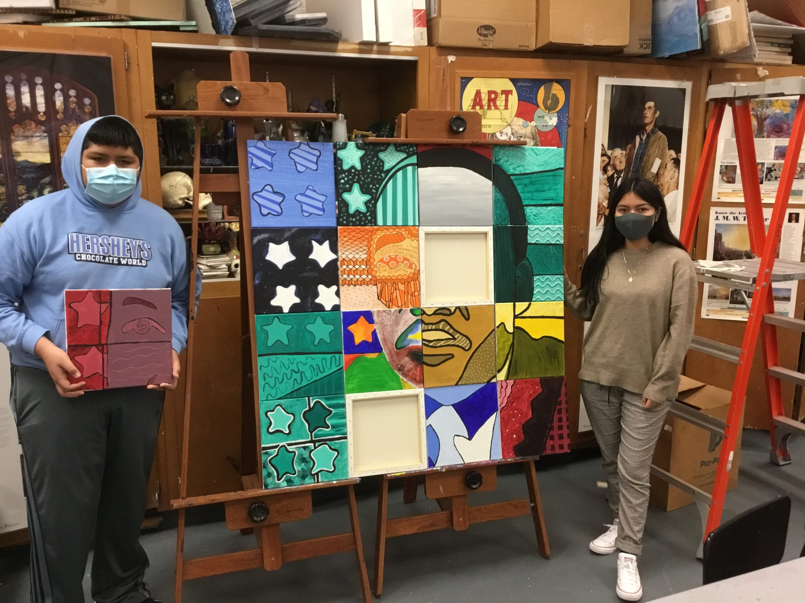 Southampton High School students created a portrait of Martin Luther King Jr. as part of a collaborative project with the East End Arts Council.