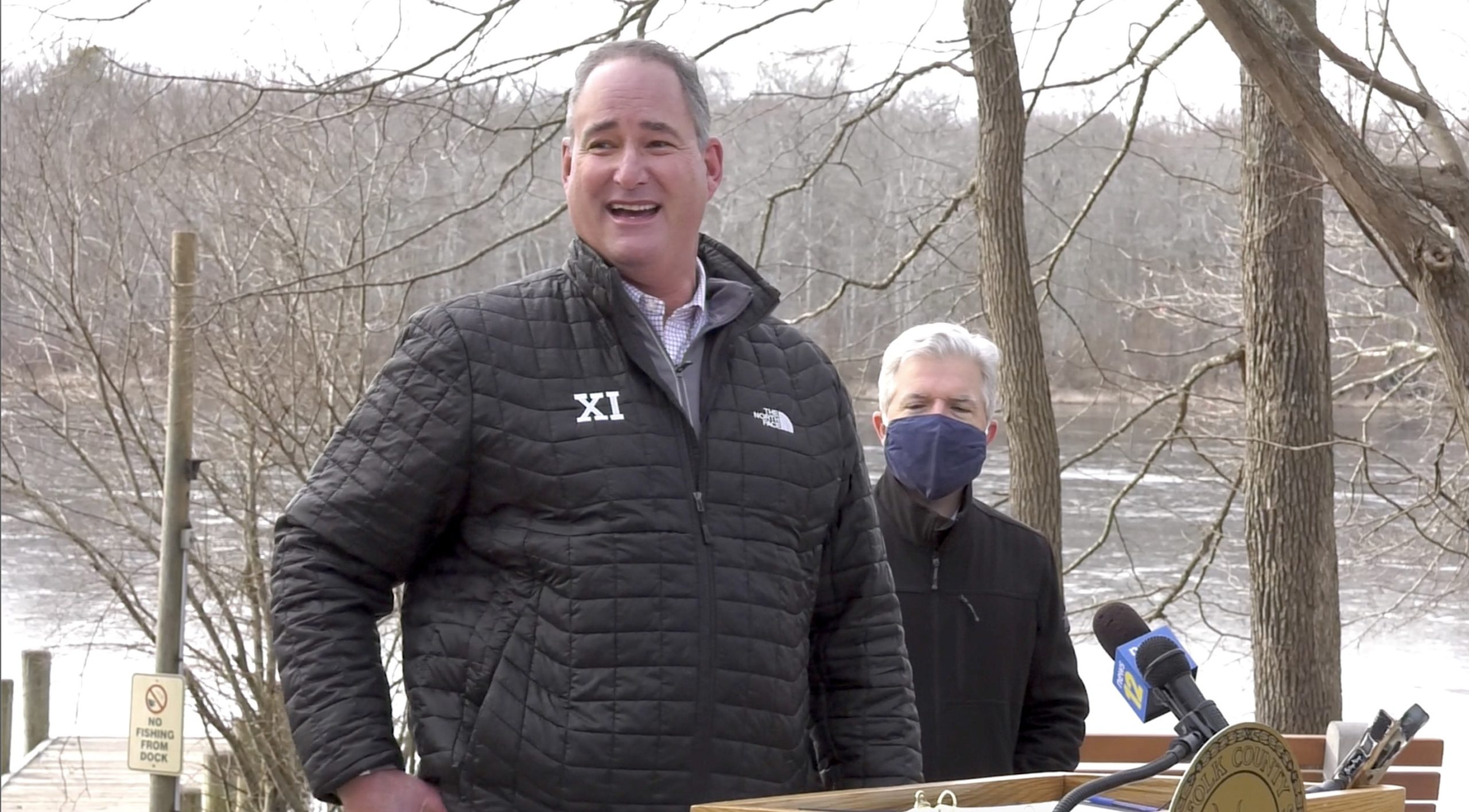 Section XI Executive Director Tom Combs discusses how happy he is to see student-athletes in school districts that play sports deemed high-risk by the state being given approval to practice and compete at a press conference at Blydenburgh County Park in Smithtown January 25.