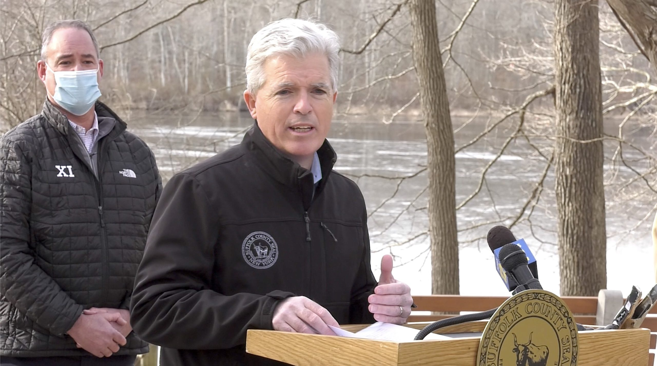 Suffolk County Executive Steve Bellone discusses the Suffolk County Department of Health Services' guidelines for allowing high-risk sports to resume in and outside of schools at a press conference at Blydenburgh County Park in Smithtown January 25.