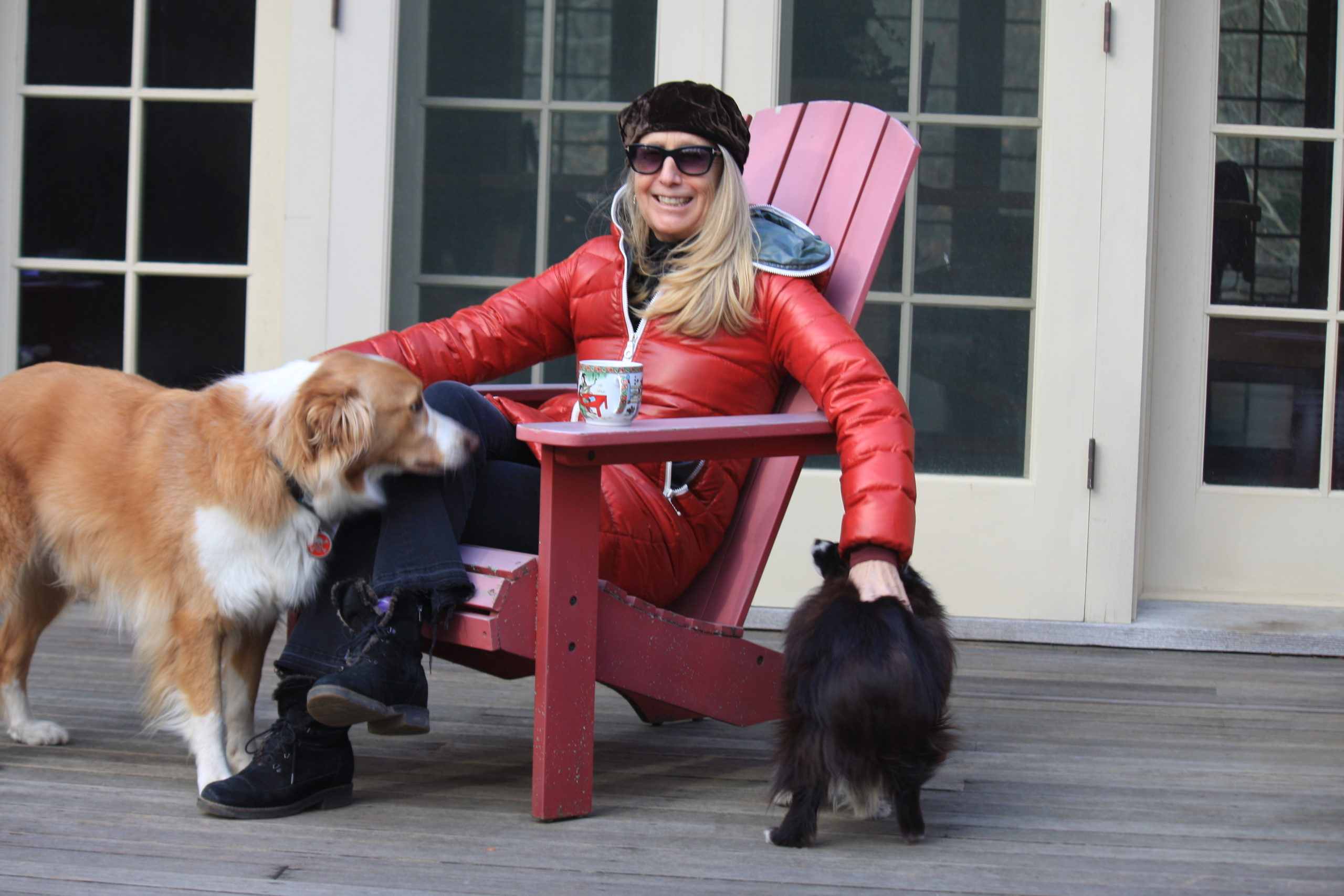 Taylor Barton at home with her dogs.