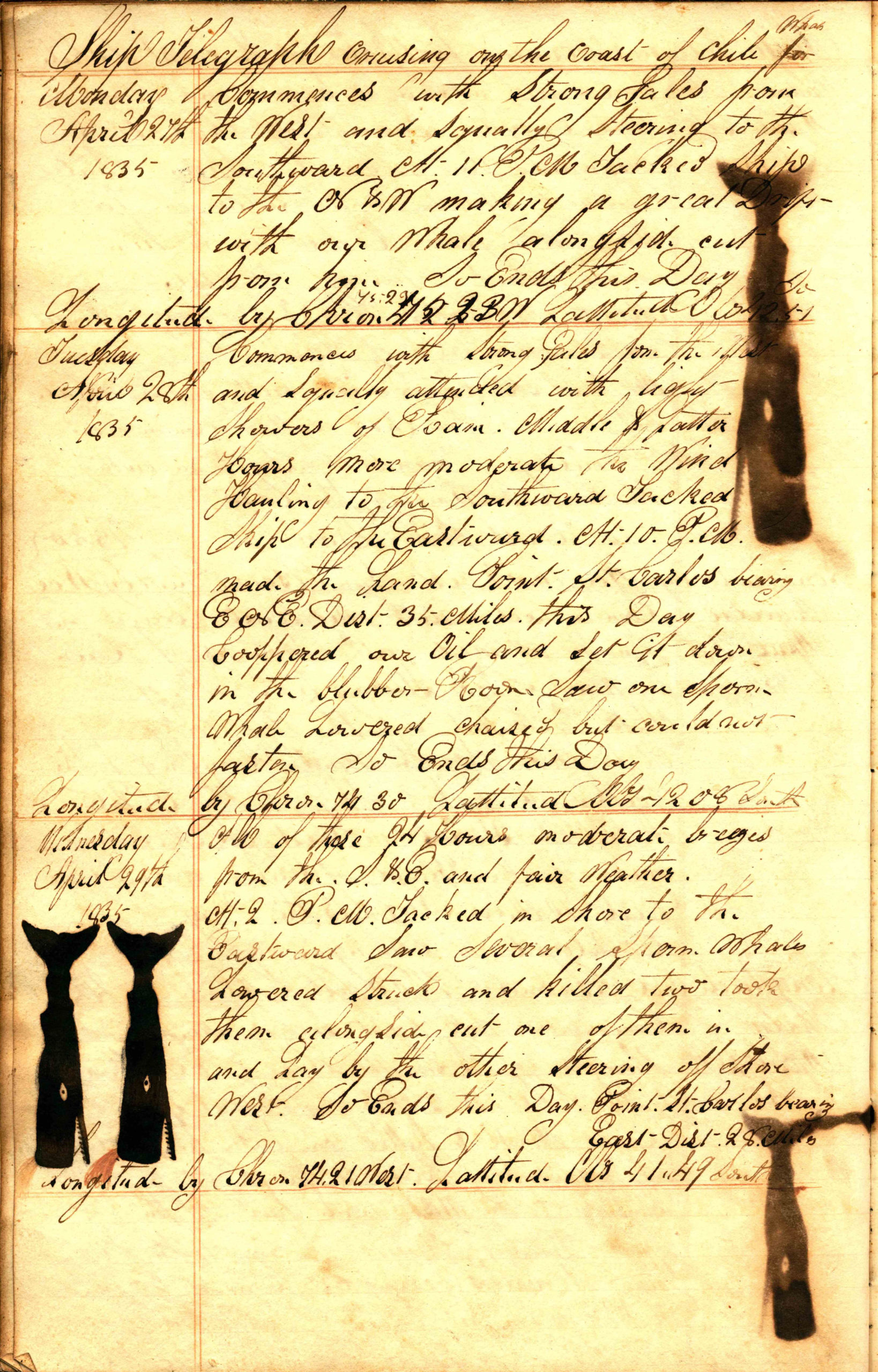 A page taken from the whaling ship Telegraph, on a voyage from Sag Harbor to the South Atlantic Ocean and Oceania, 21 October 1834 - 21 May 1836.    COURTESY EAST HAMPTON LIBRARY, LONG ISLAND COLLECTION