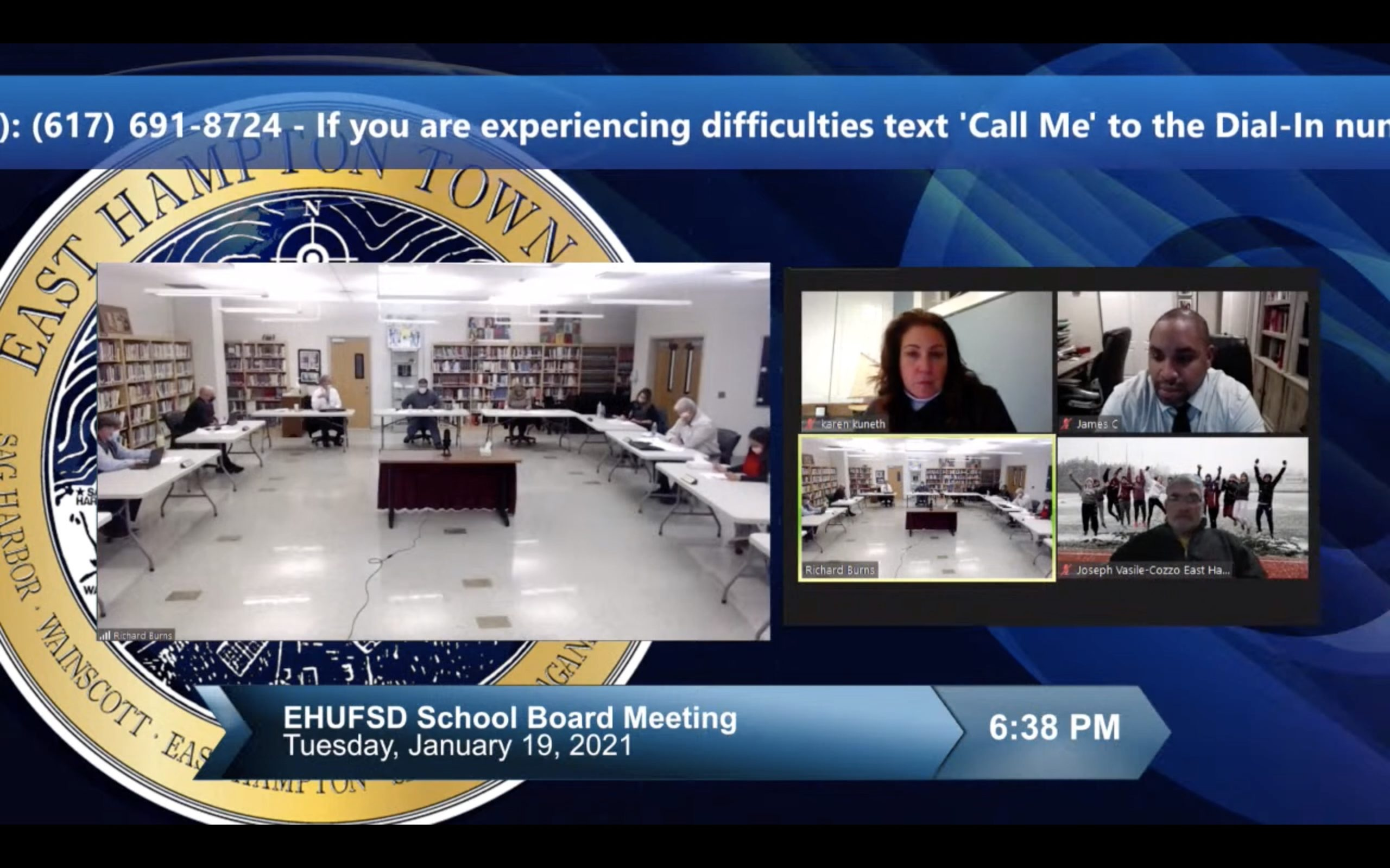 John M. Marshall Elementary School Interim Principal Karen Kuneth, high school Principal James Crenshaw, Athletic Director Joe Vasile-Cozzo and the East Hampton board of education discuss the possibility of reopening schools on Monday.