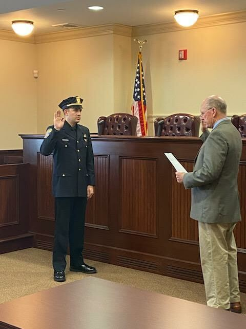 Mayor Peter Sartorius administered the oath of office to newly-minted Quogue Village Police  Detective William Alex Gladding