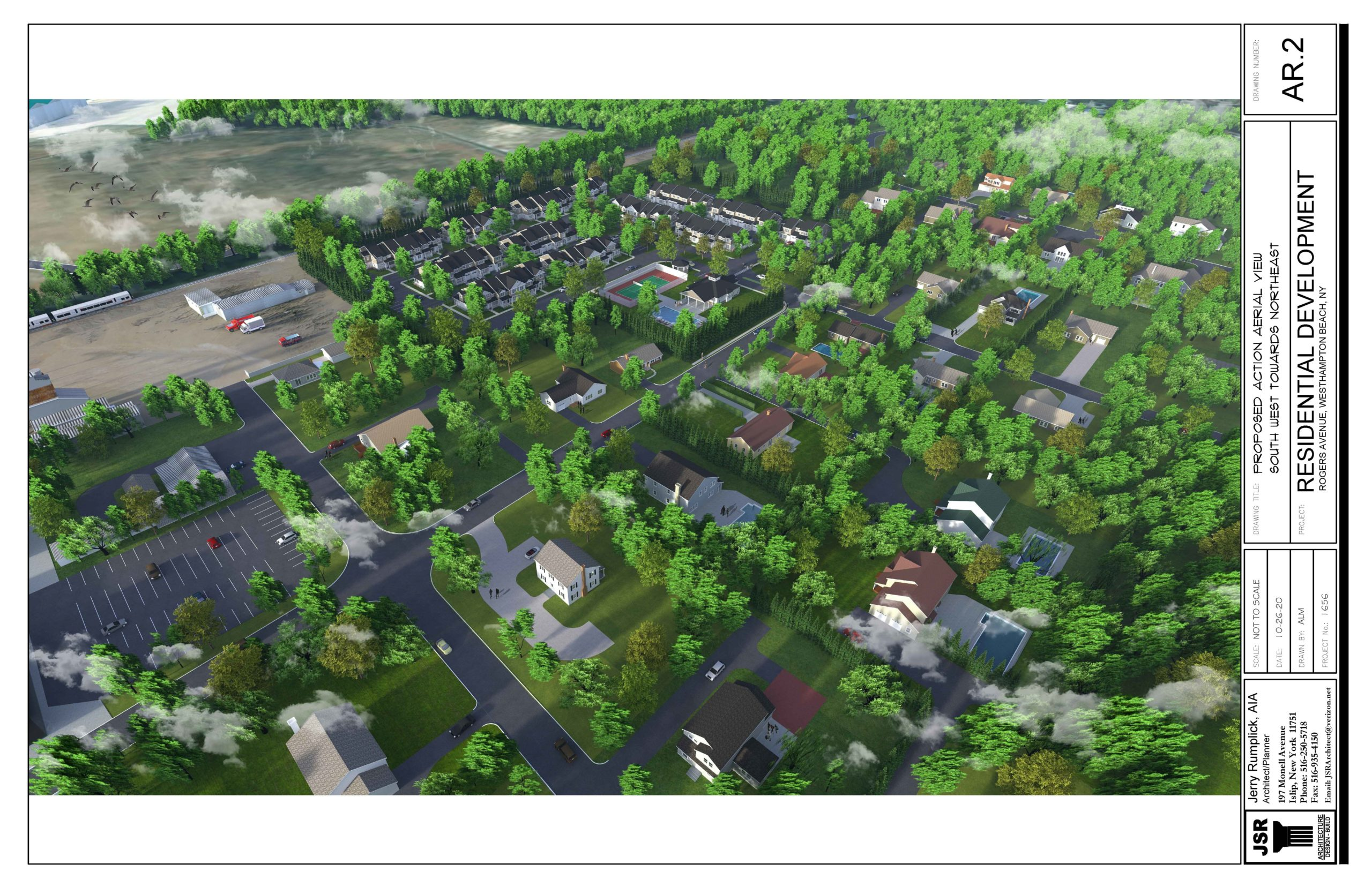 An architect's rendering of the proposed Townes at Ketchaponack, with existing homes shown in the foreground.