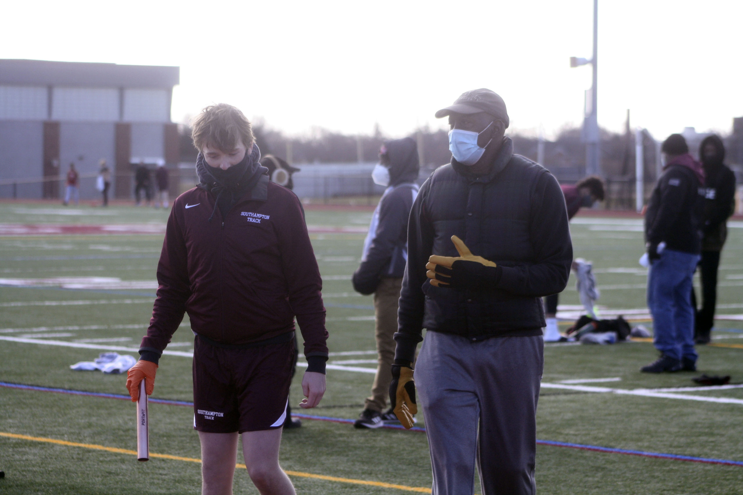 Southampton head coach Tony Dottin gives out some pointers before the relays.   CAILIN RILEY