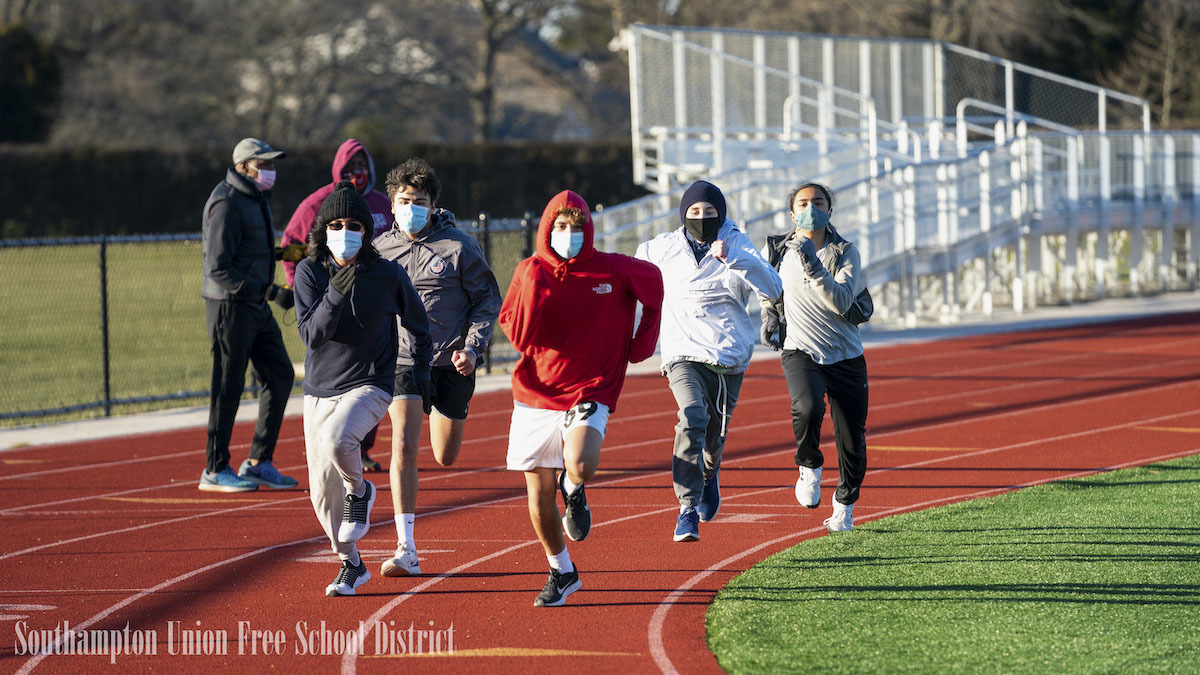 Southampton's winter track teams during their first week of practice. The team will hold both practices and meets outdoors this year.  RON ESPOSITO