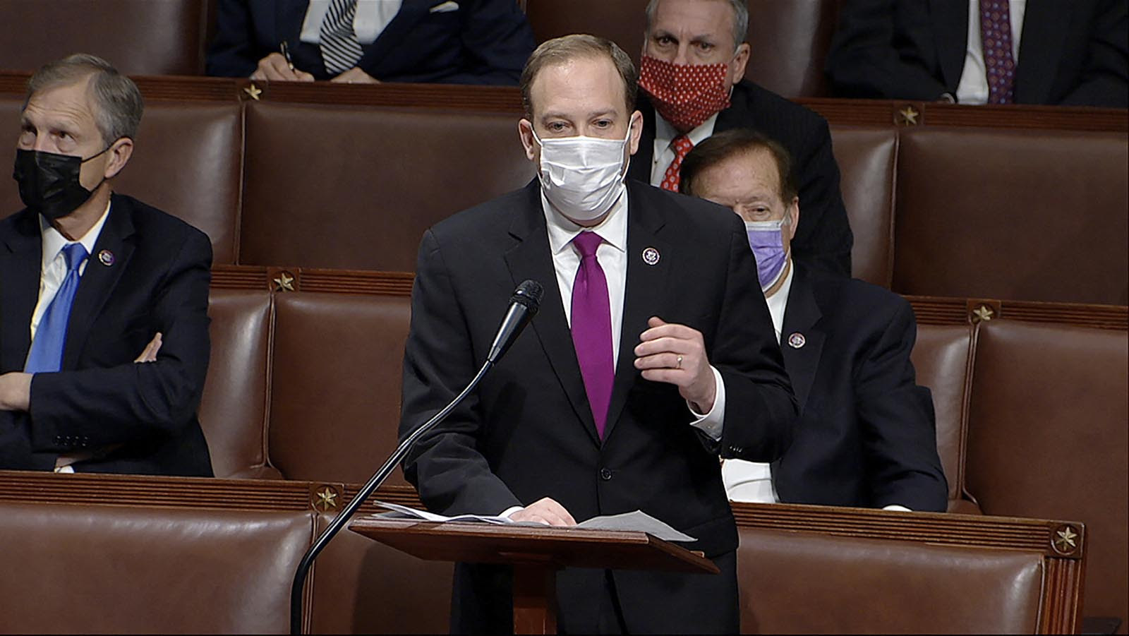 U.S. Representative Lee Zeldin speaking on the floor of the House of Representatives on January 6. Mr. Zeldin delivered another fiery speech on Wednesday defending the president from what he called a