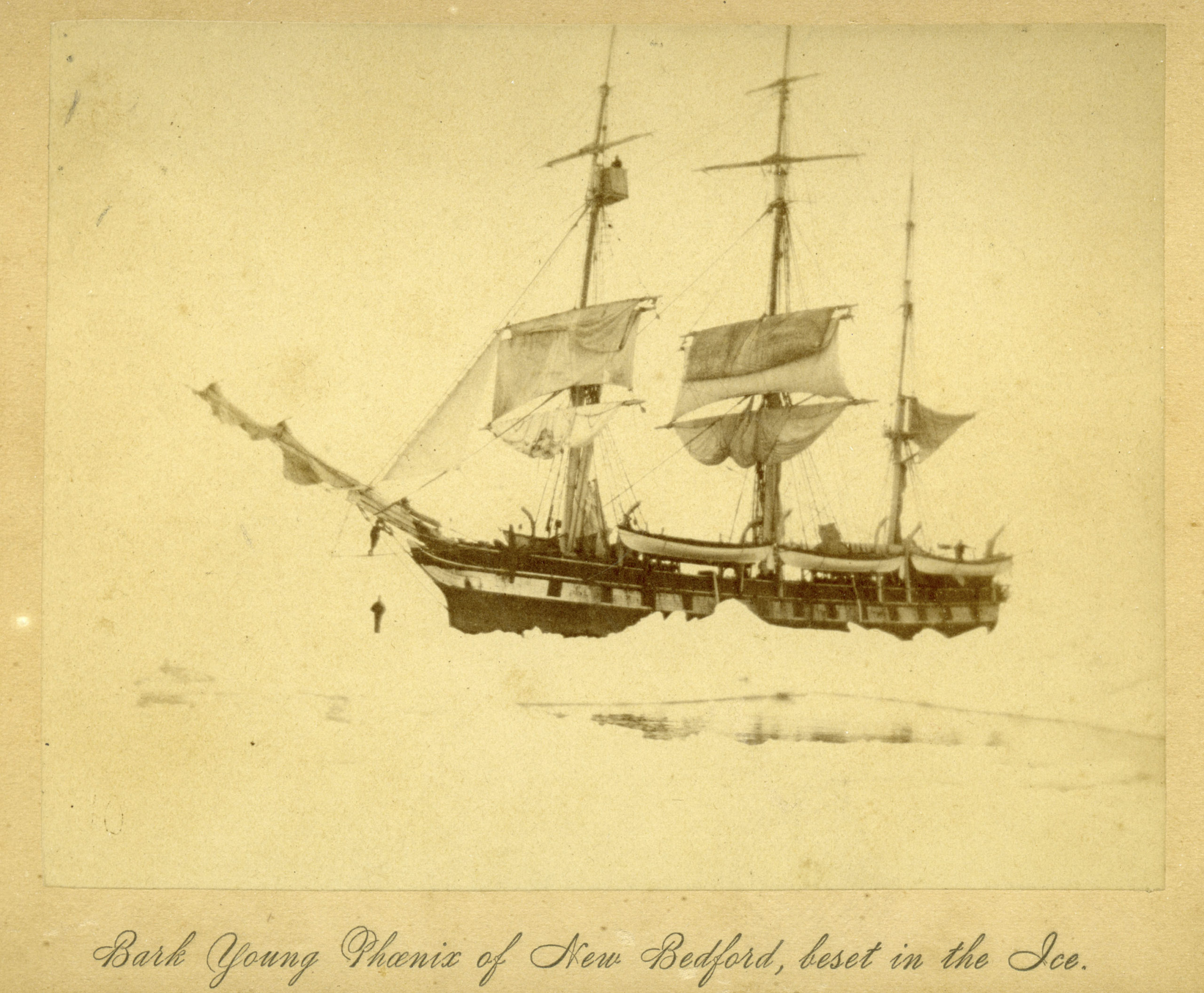 The bark the Young Phenix of New Bedford, beset in the ice.     COURTESY NEW BEDFOR WHALING MUSUEM