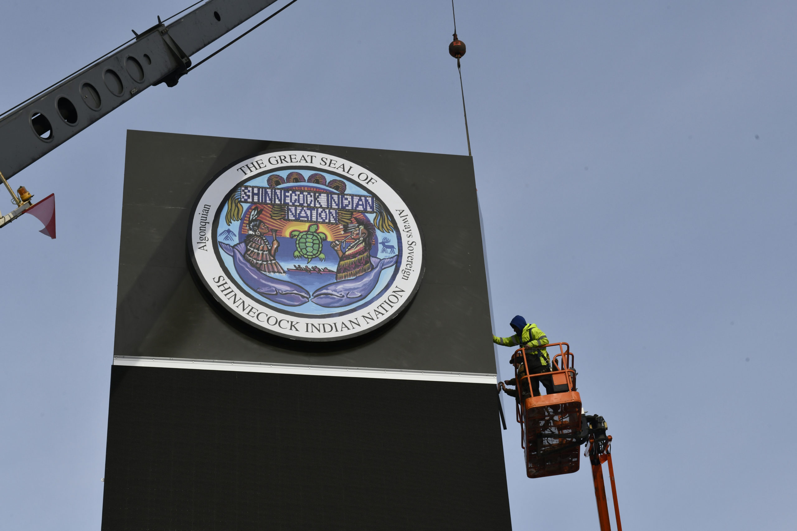 Work on the second of the Shinnecock Nation's billboards was largely finished on Thursday afternoon.    DANA SHAW