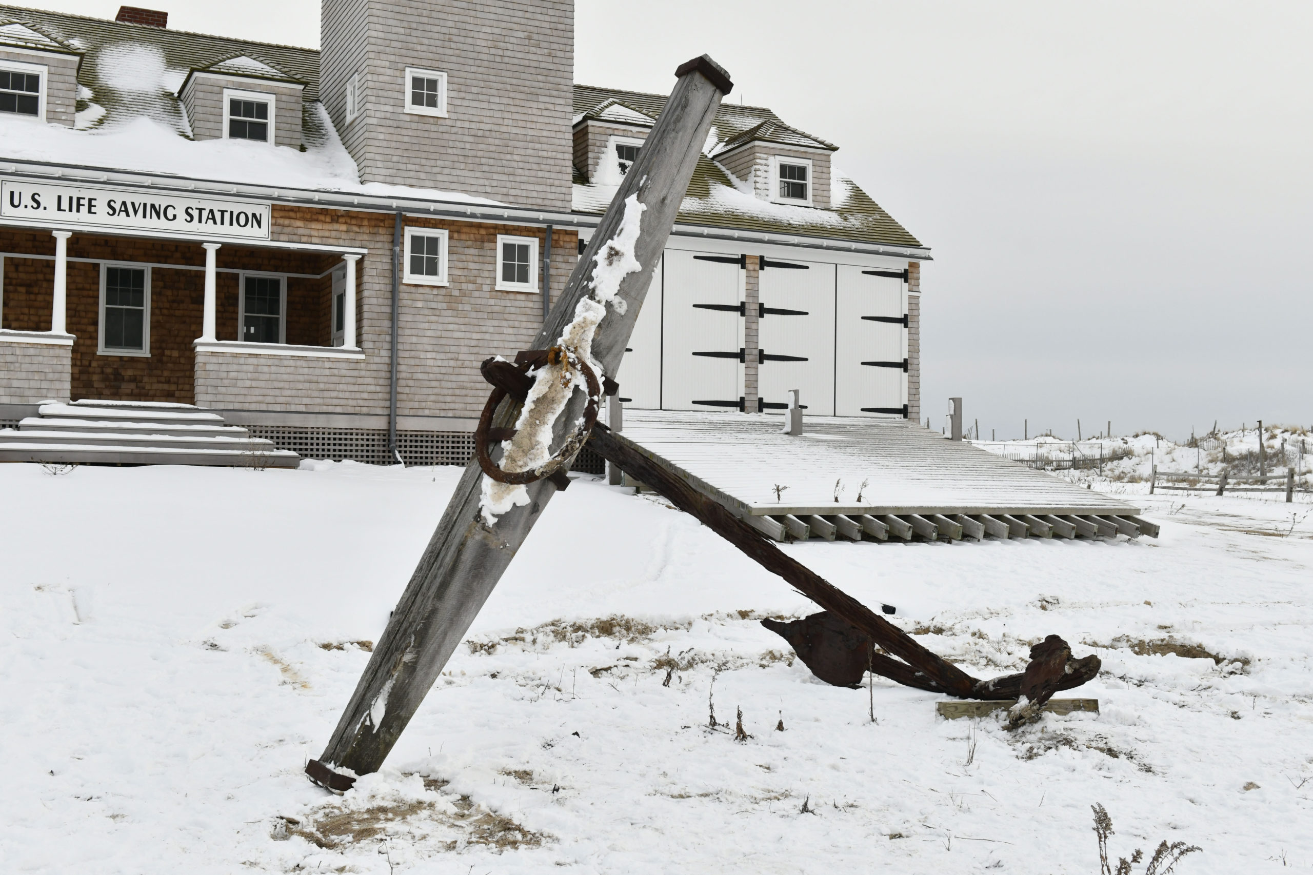 The nearly 7,000-pound anchor from the Circassian, a British-built ship that broke up after running aground at Mecox during a storm on December 10, 1876, arrived at the Tiana Lifesaving Station on Friday.  DANA SHAW