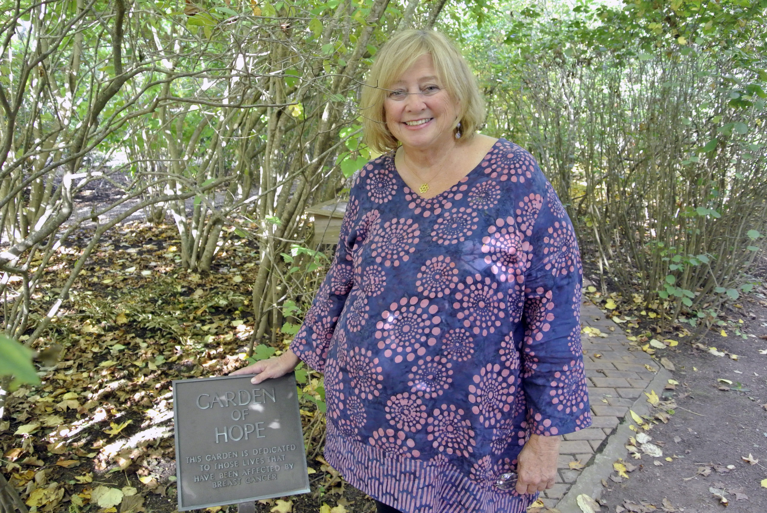 Susie Roden in the Garden of Hope at Stony Brook Southampton Hospital in 2014.    DANA SHAW