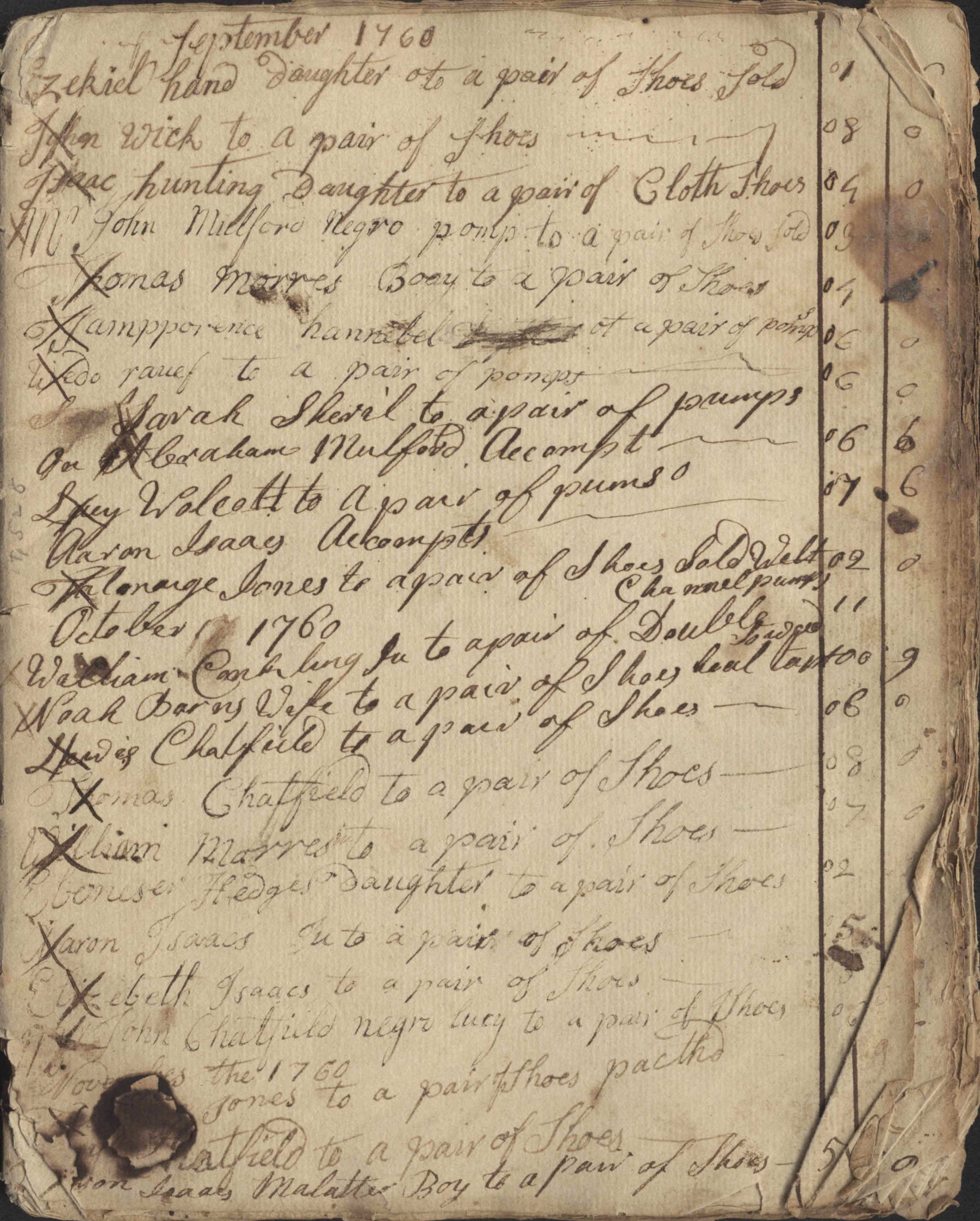 """Taking a close look at historical records and documents like these from the East Hampton Library's Long Island Collection has been a key part of the research involved in the Plain Sight Project.  The """"shoe"""" books contain the names of enslaved people, as well as their enslaver; this one shows, """"John Mulford['s] negro pomp to a pair of Shoes Sold [soled]"""" for three shillings in Sept. 1760.  Courtesy East Hampton Library Long Island Collection"""