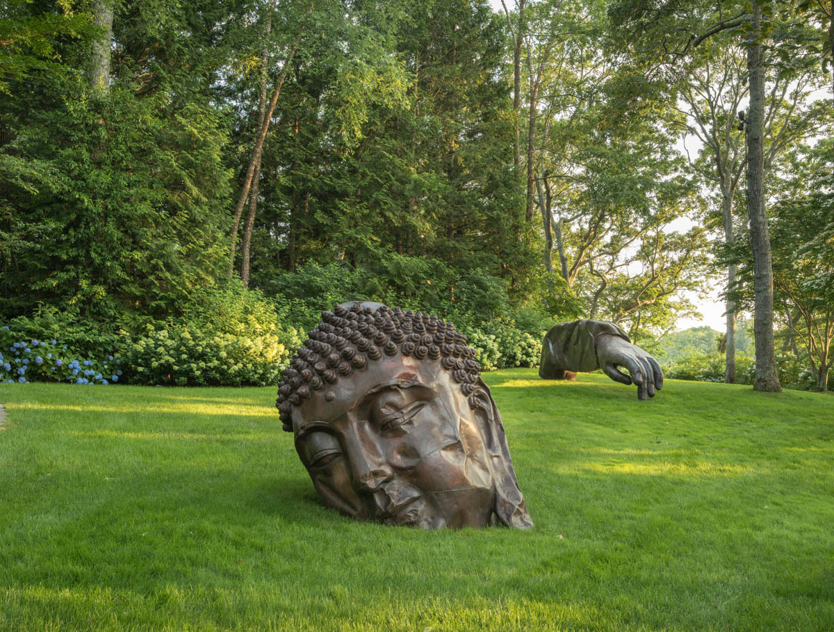 Arne Glimcher's Glimcher Garden in East Hampton with a piece by Zhang Huan.