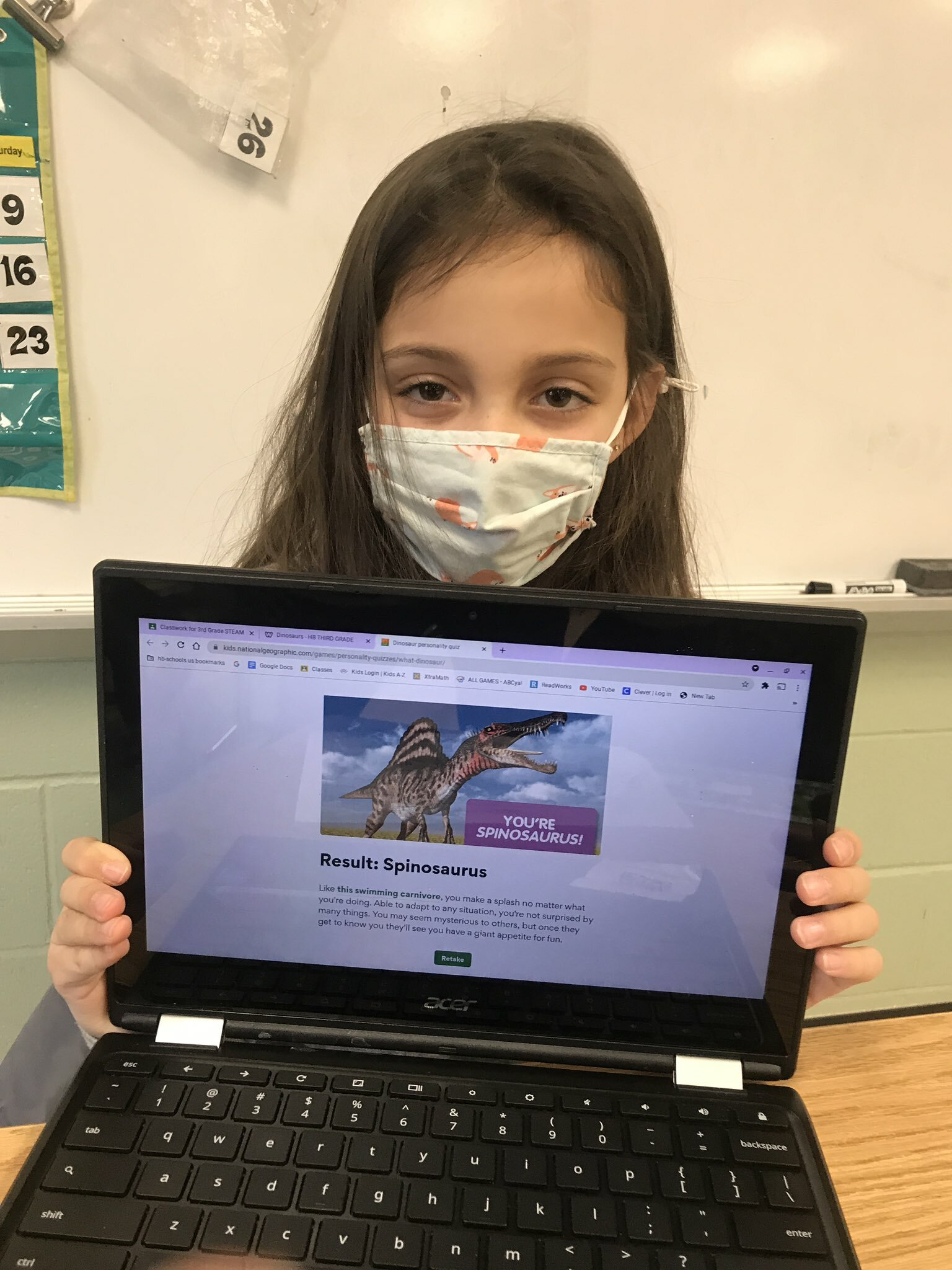 After learning about fossils and dinosaurs, the third graders in Karen Lombardo's class at Hampton Bays Elementary School discovered what type of dinosaur they would be. The personality test was completed using a National Geographic application. Students were surprised to learn that they could have been a Stegosaurus or even a Tyrannosaurus rex.