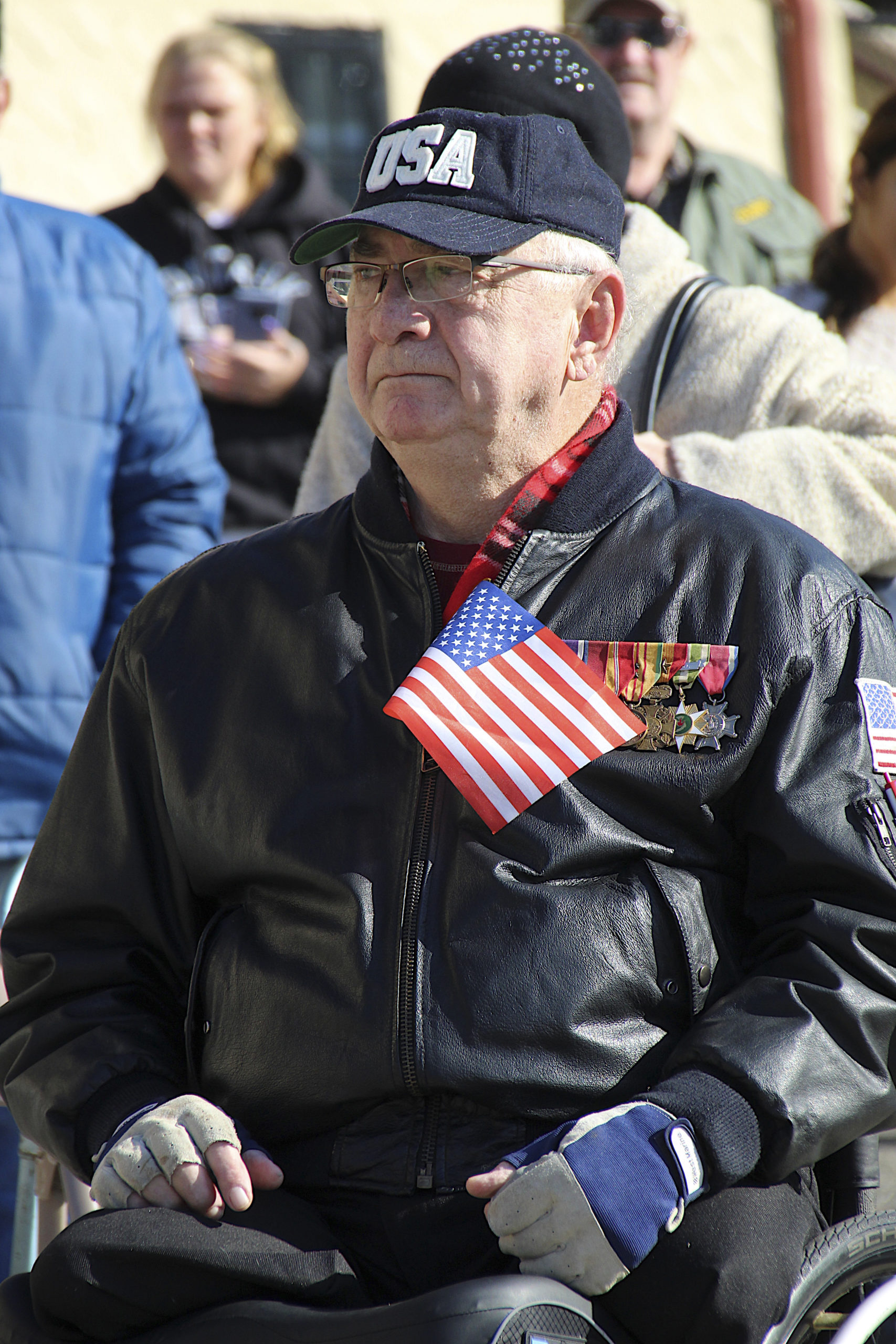 John Behan at the Veterans Day observance in Montauk in 2018.     EXPRESS FILE