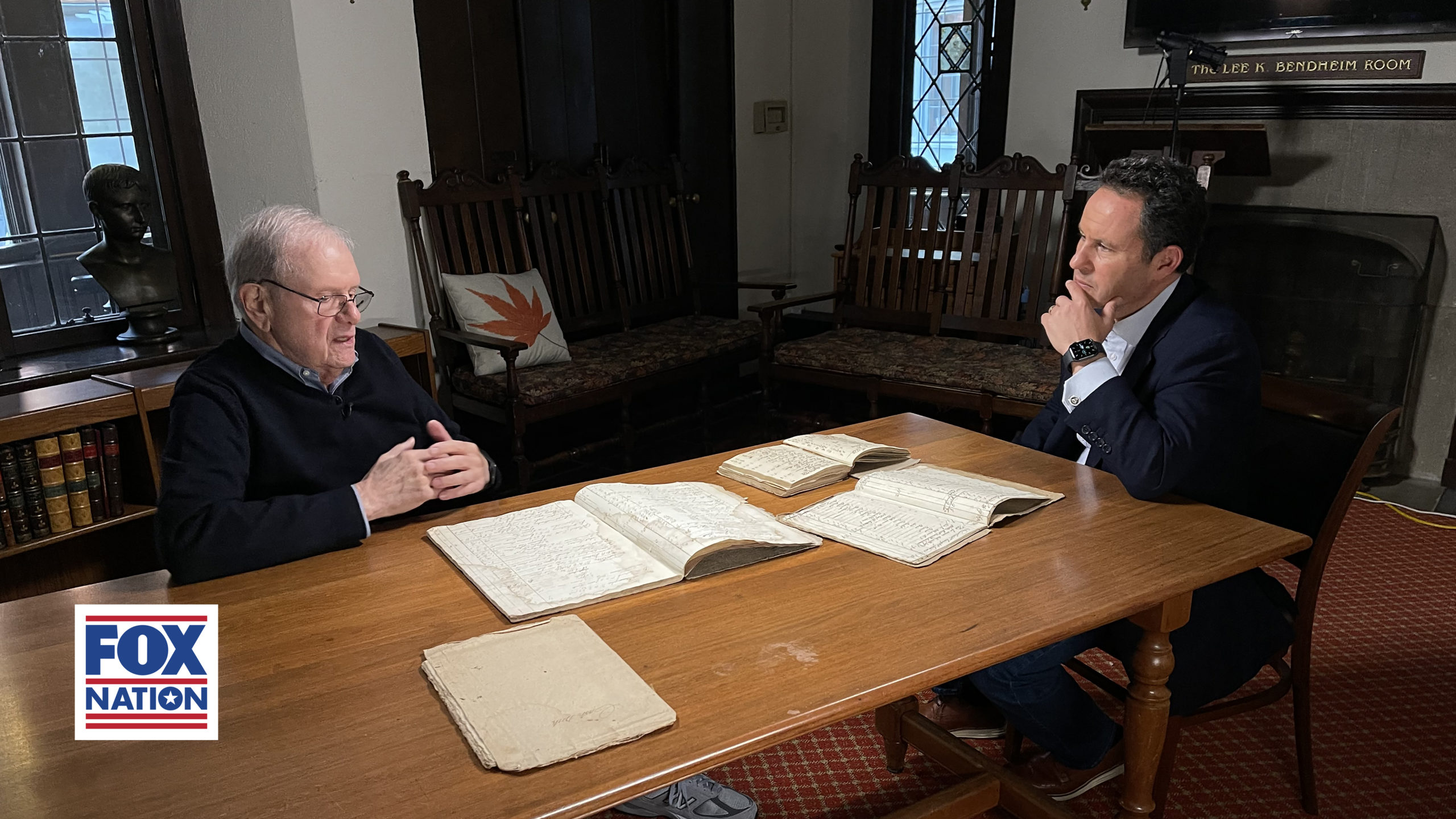 FOX Nation's Brian Kilmeade visited the East Hampton Library for a segment on the George Washington secret spy ring, now streaming online as part of his historical series,