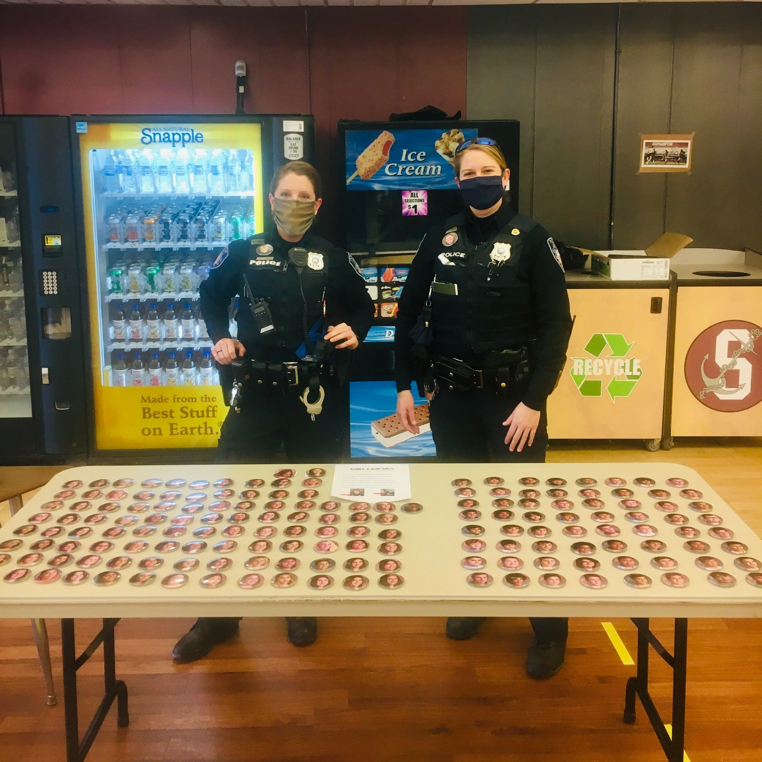 Southampton school resource officers Tiffany Lubold and Lisa McCulley are providing every student and staff member in the Southampton School District with personalized buttons as part of a Smile Campaign.