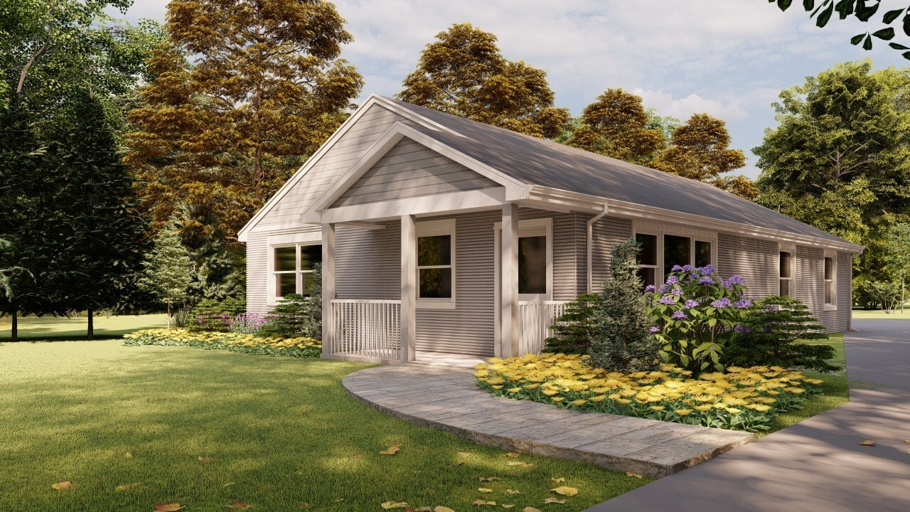 A rendering of the 3D printed house SQ4D is building in Riverhead.