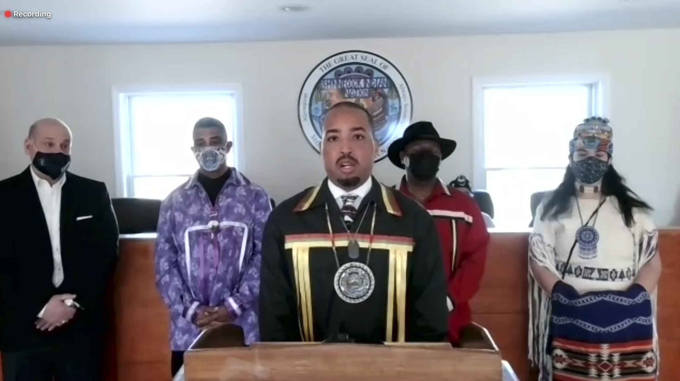 Shinnecock Tribal Chairman Bryan Polite at a virtual press conference announcing the tribe's plans to construct a casino. STEPHEN J. KOTZ
