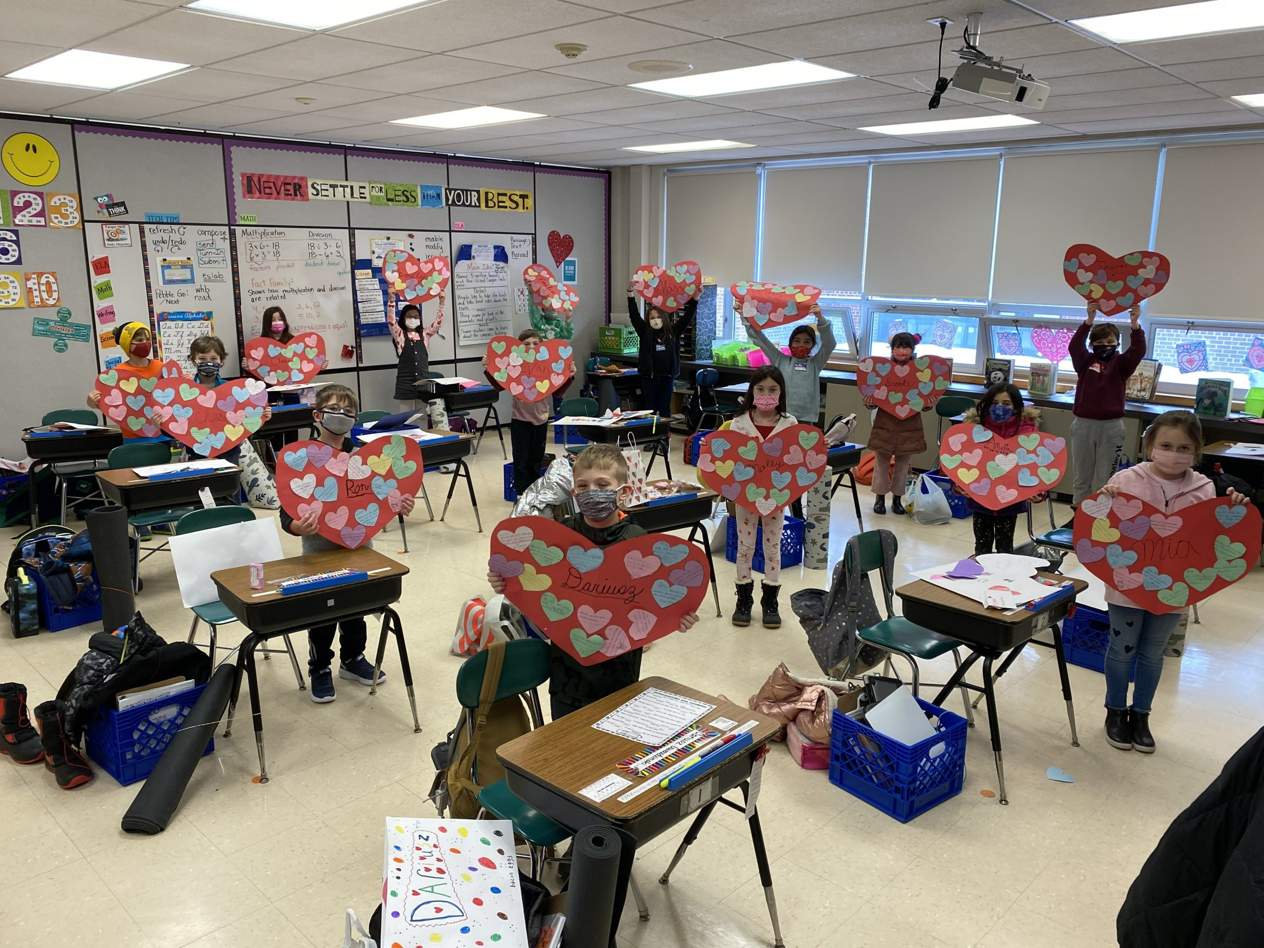 To spread the love for Valentine's Day, Rosalie Gilhauley's third grade class at Westhampton Beach Elementary School made collages out of life-size paper candy hearts. The students adorned the hearts with messages of kindness that they wrote to each other.