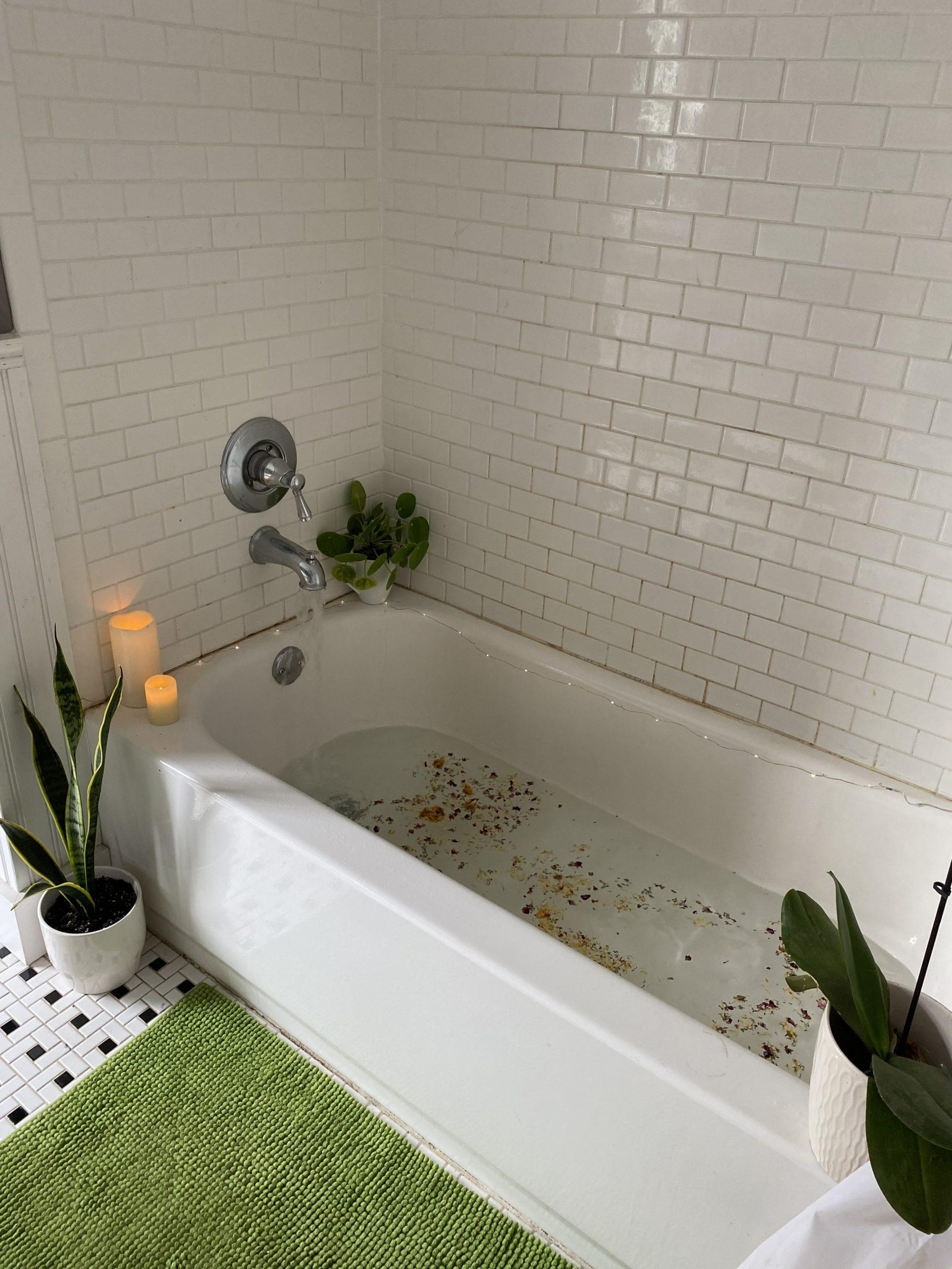 A tub ready for a home birth.
