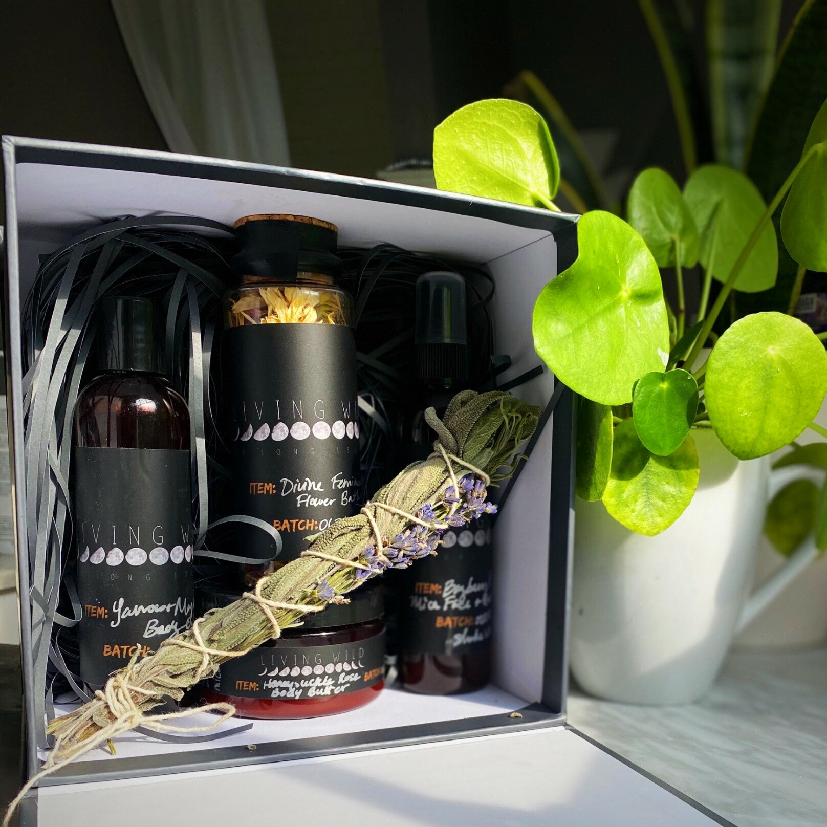 A pampering kit for mothers made by Living Wild on Long Island.