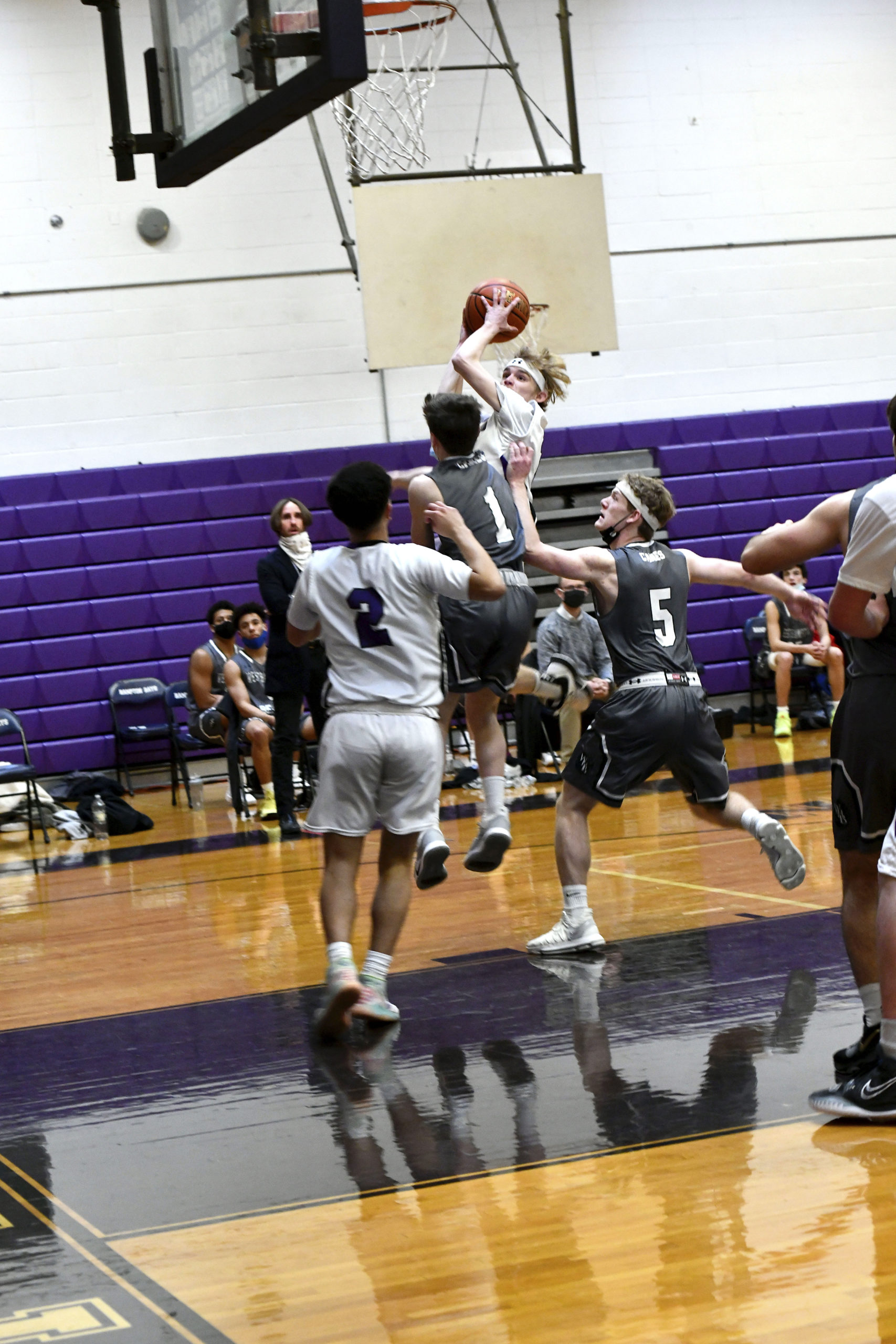 Hampton Bays Baymen standout Jack McNamara finished the final League VII game of his senior season scoring 11 points, off three field goals, a three-pointer and two free throws.       DANA SHAW