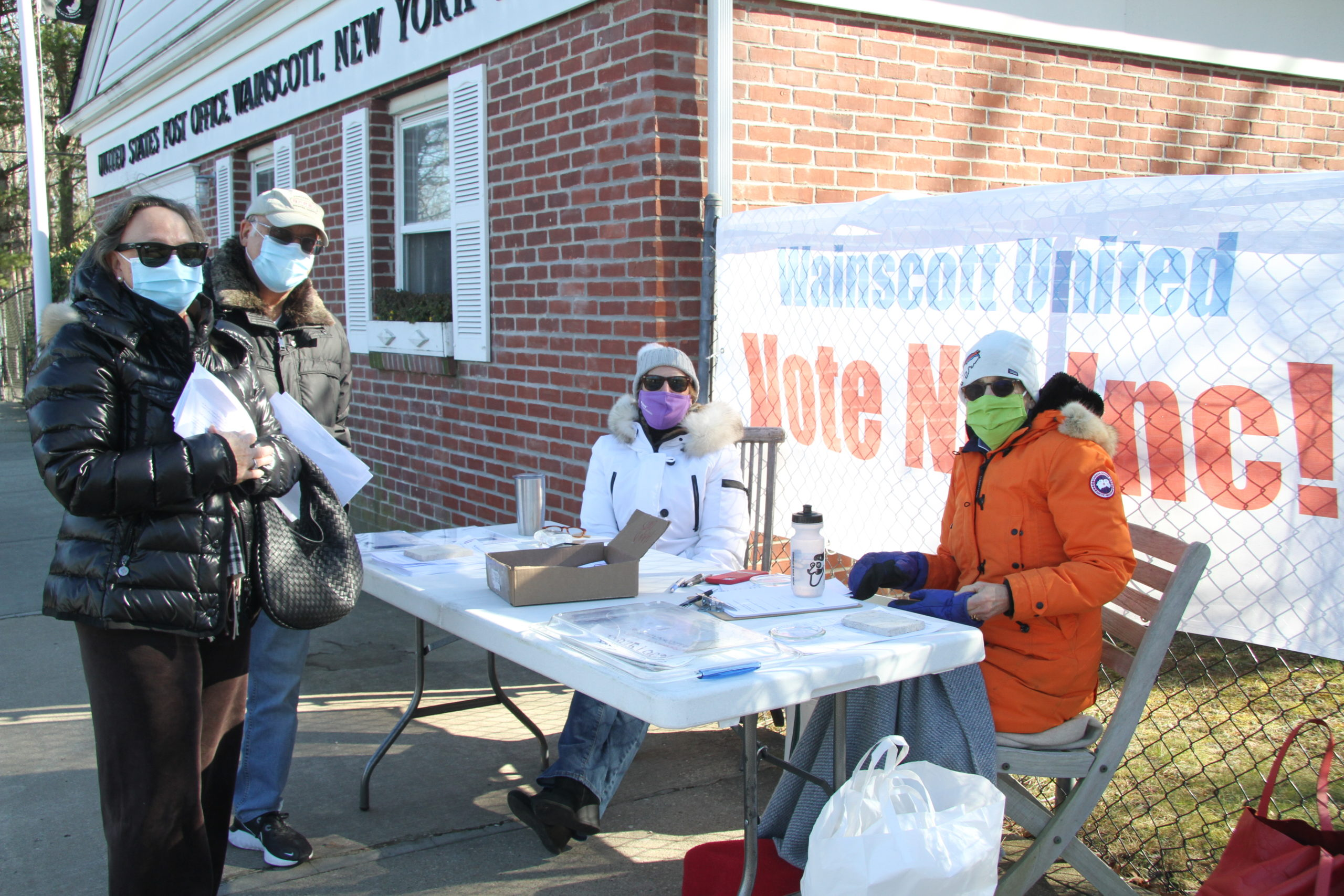 A group calling itself Wainscott United has been lobbying residents of the hamlet to oppose the incorporation proposal. Doreen Niggles and Annie Hall set up an information booth outside the Wainscott Post Office recently.