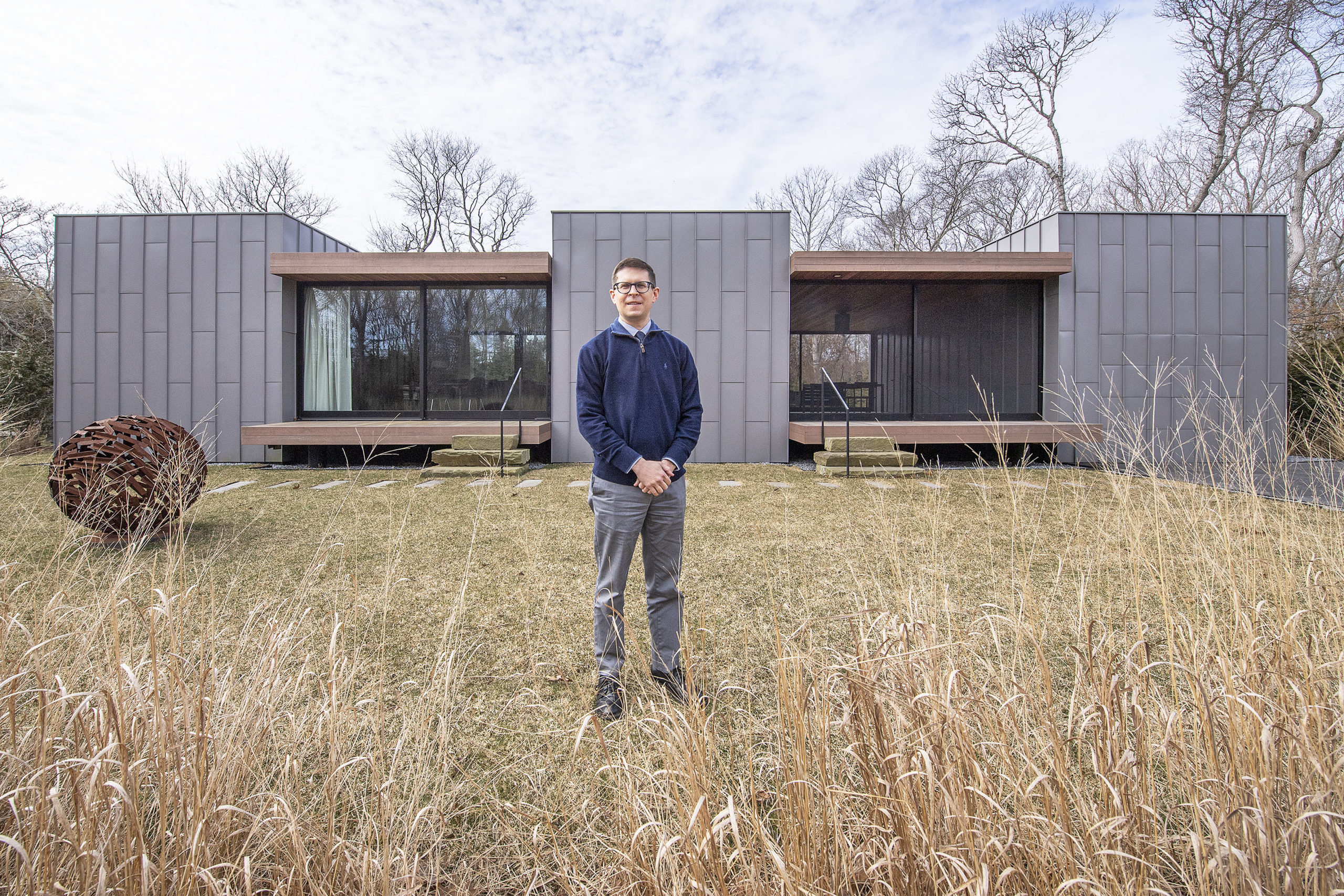 Architect Aaron Zalneraitis and Milestone, the East Hampton residence that he designed for himself.