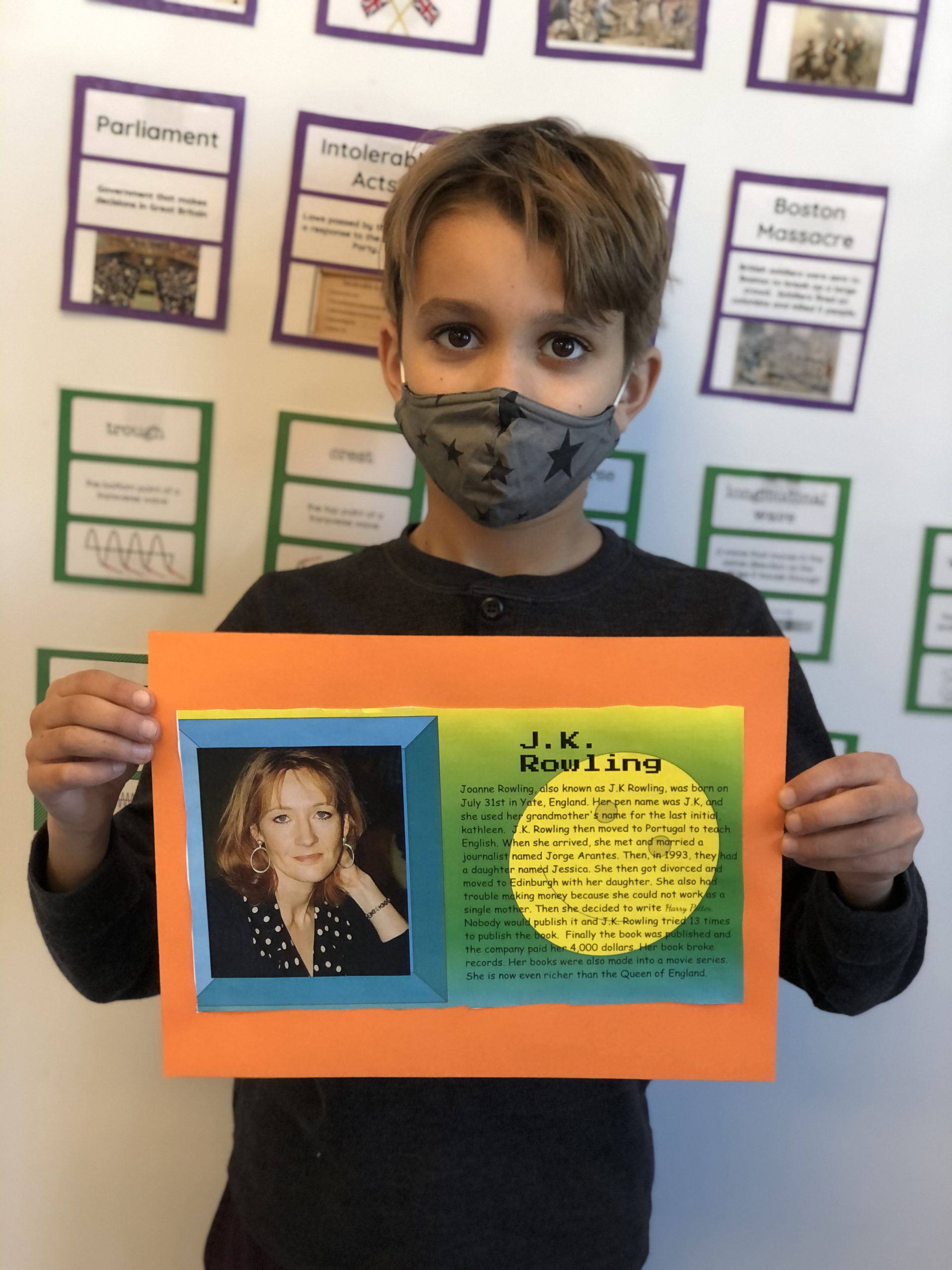 Bridgehampton School fourth grader Chase Chmielewski with his poster for Woman's History Month on renowned author J.K. Rowling.     COURTESY BRIDGEHAMPTON SCHOOL DISTRICT