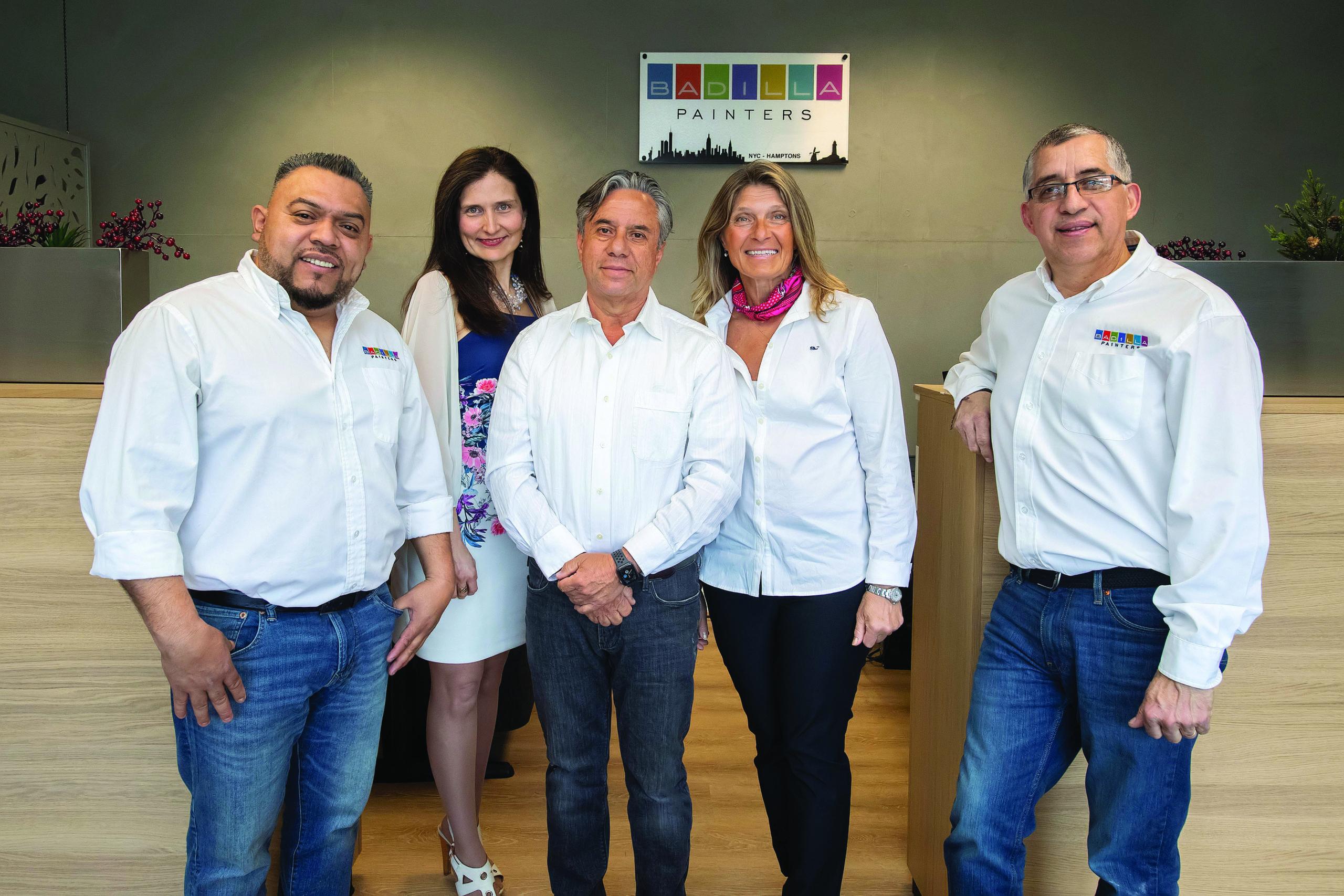 The Badilla Painters management team, from left to right, Arnulfo Vasquez, Julie Alvarado, Joe Badilla, Marina Leous, and Joe Sarasky.