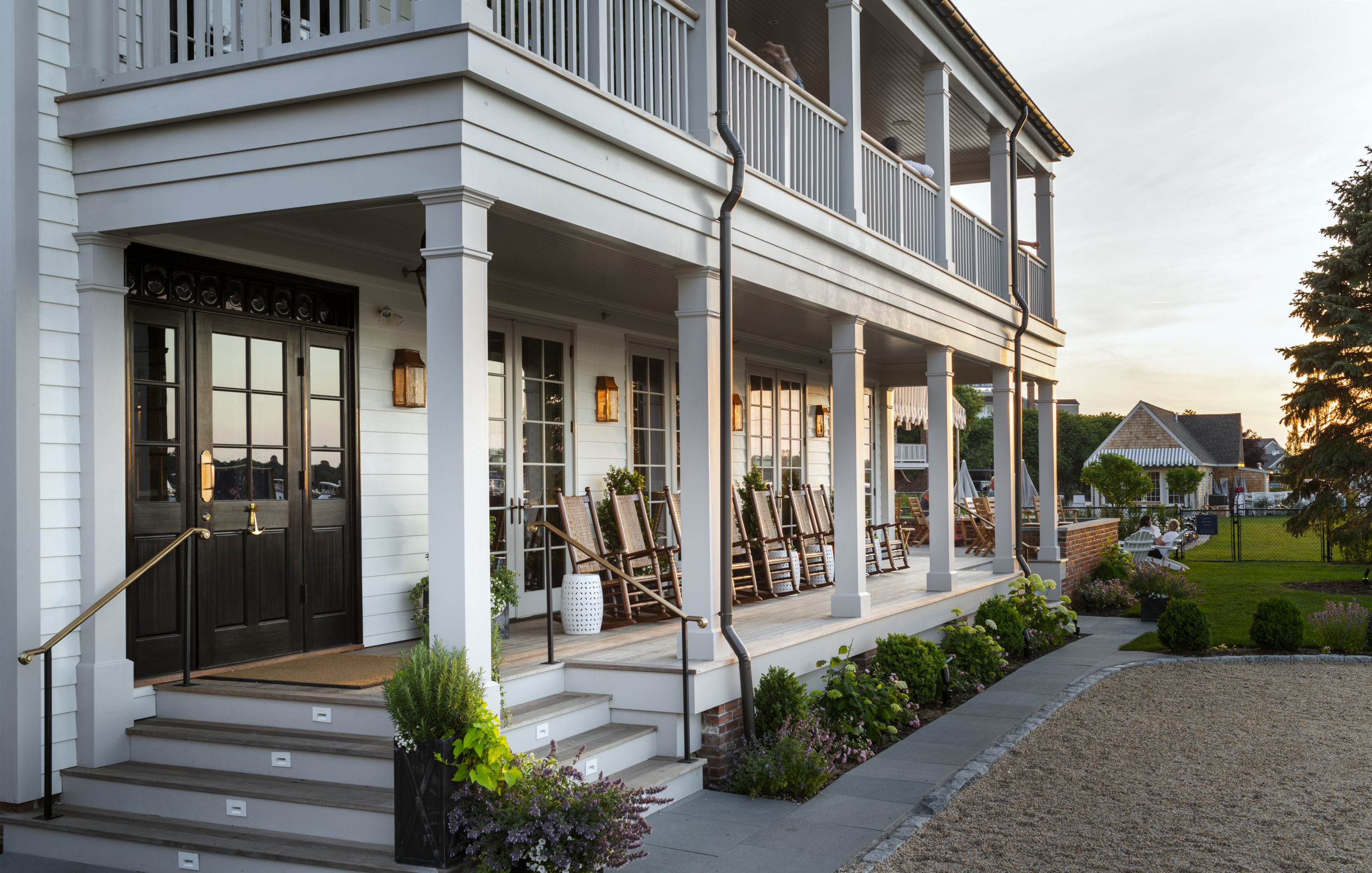Rocking chairs on the front porch of Baron's Cove.