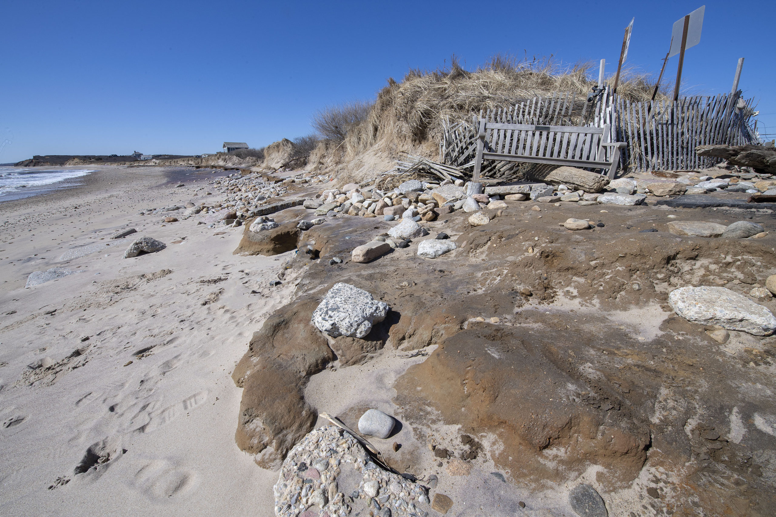Beach erosion at Ditch Plains in Montauk, photographed on March 2.   MICHAEL HELLER