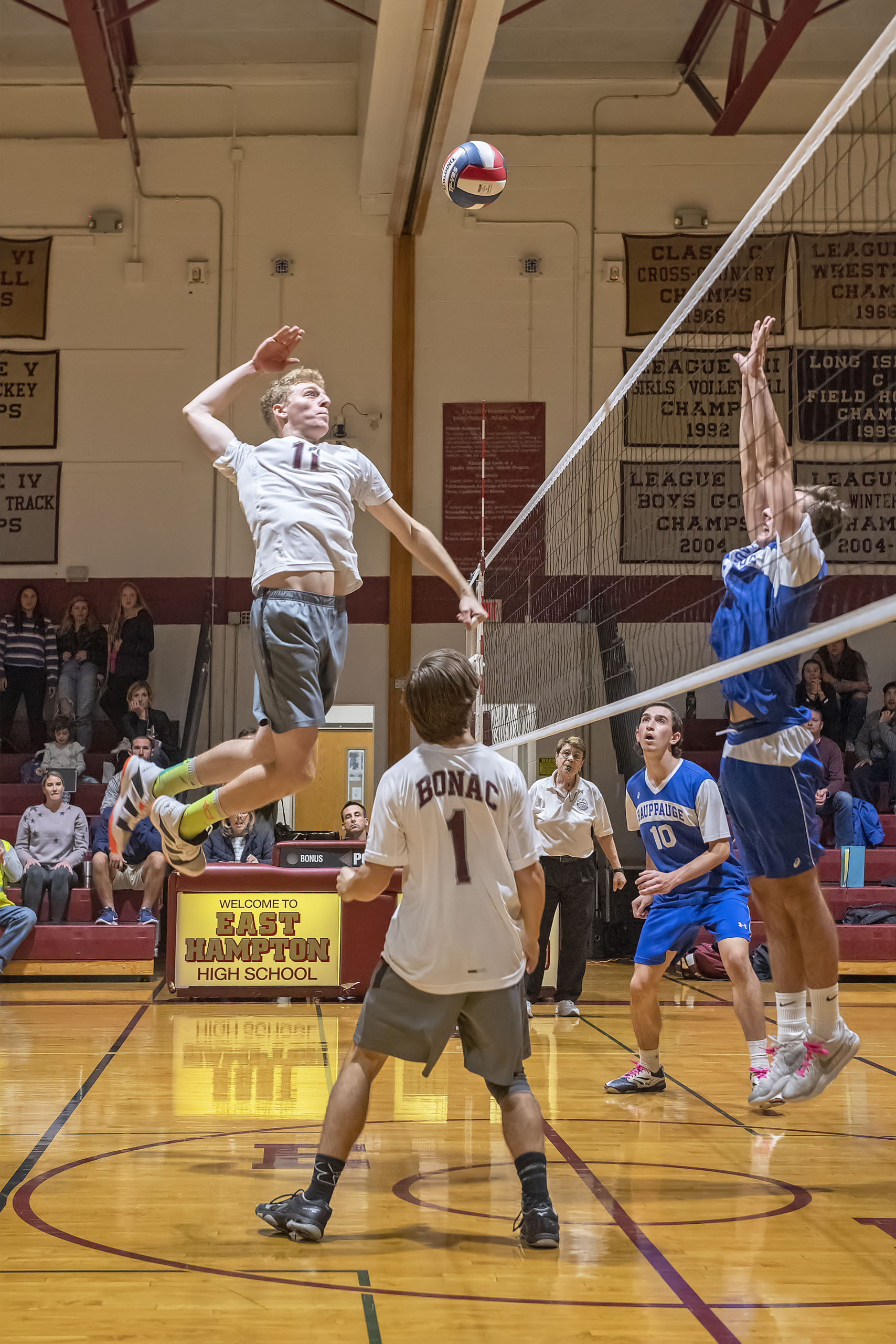 Luc Campbell returns for the East Hampton boys volleyball team.