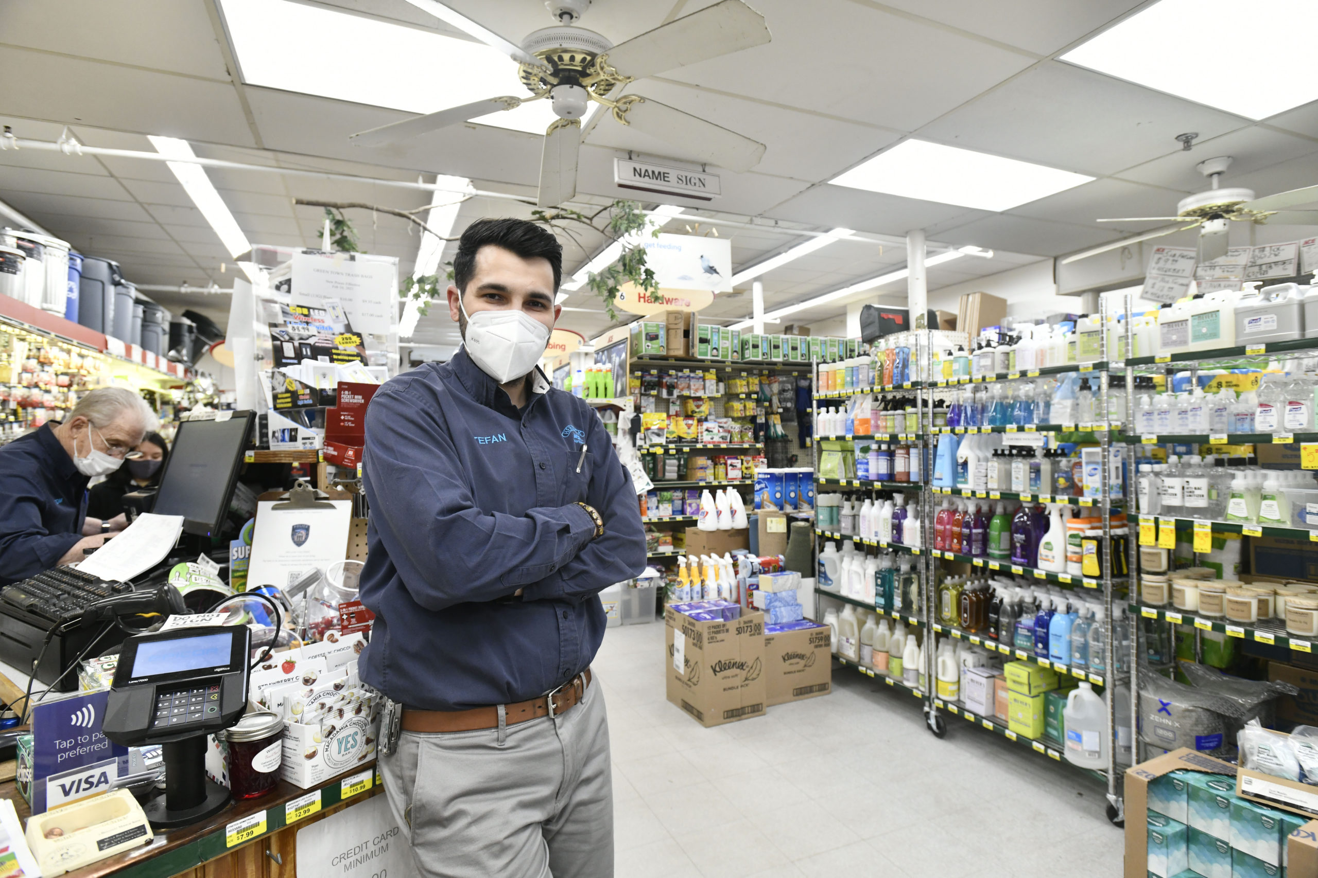 Herrick Hardware manager Stefan Grigoras in the store in Southampton Village.   DANA SHAW