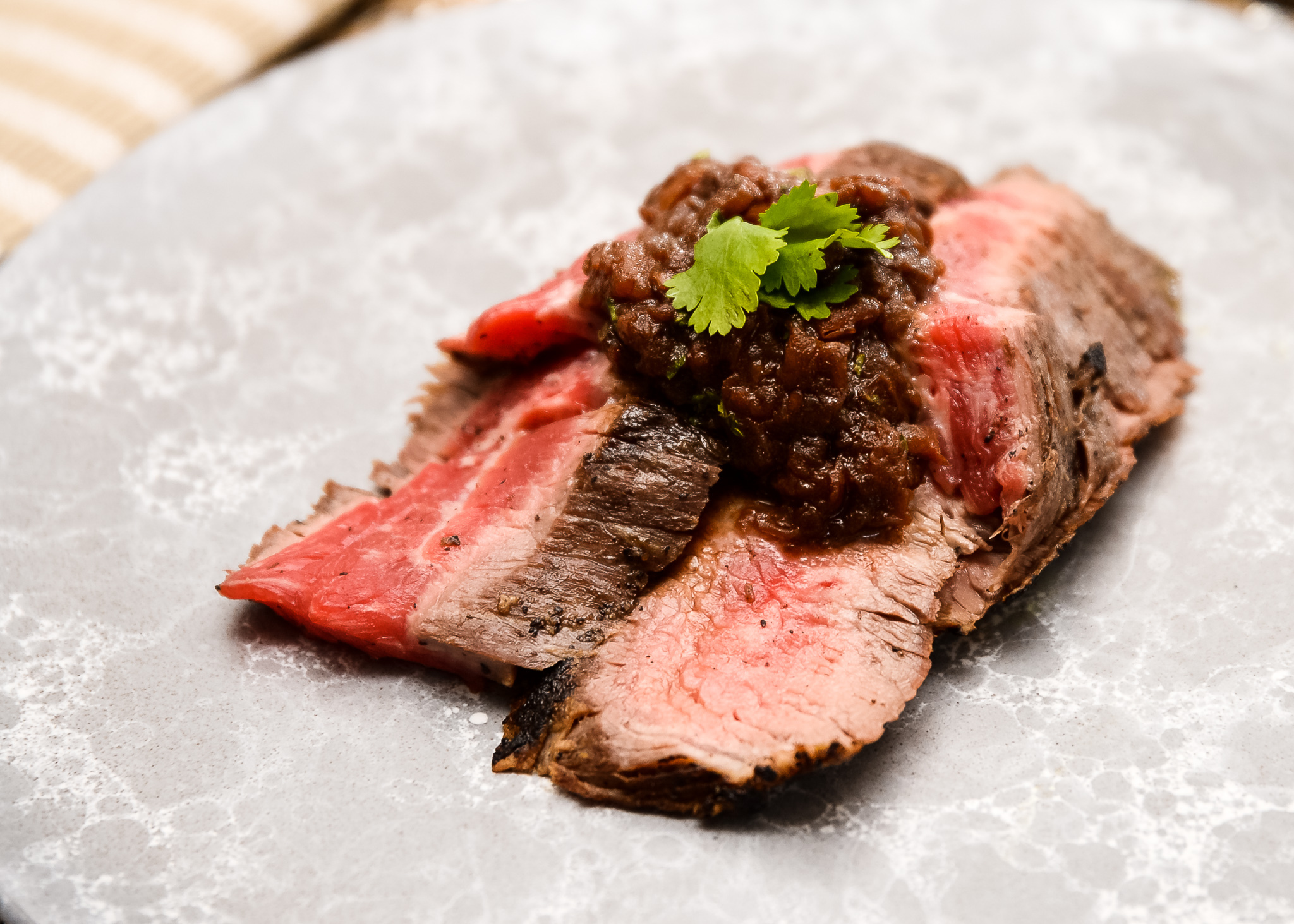 Honest Plate's flank steak with red onion jam.
