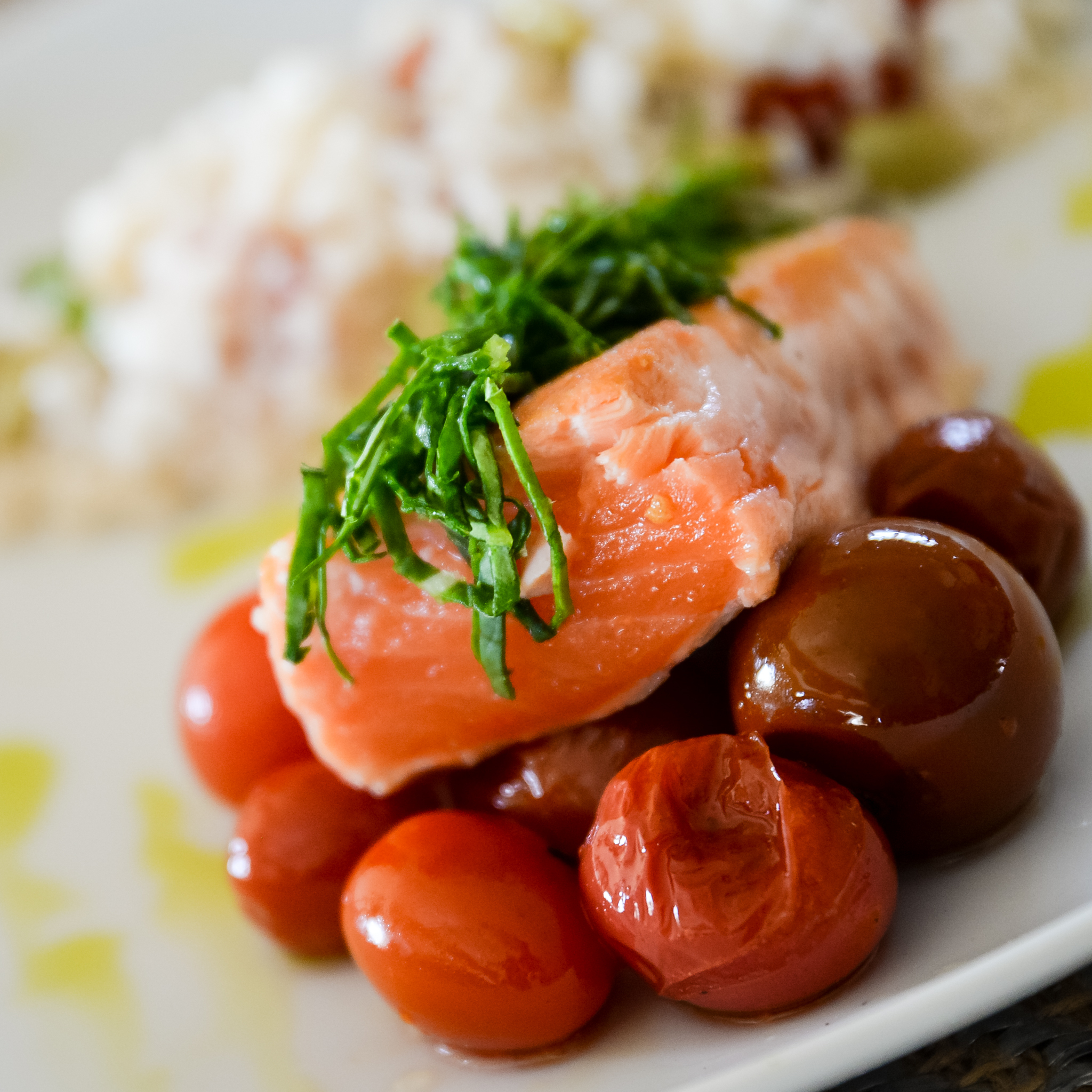 Honest Plate's grilled salmon with blistered tomatoes.